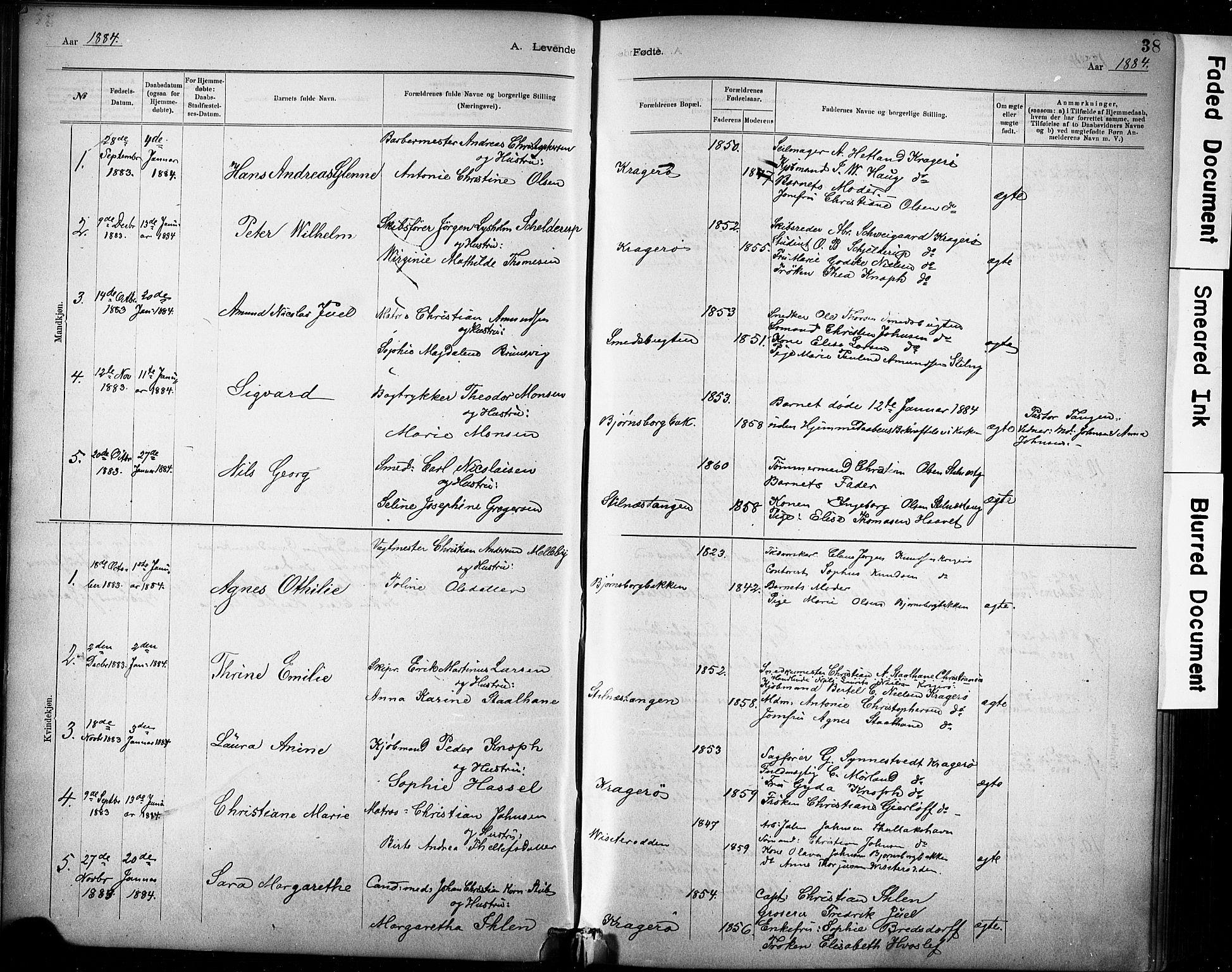 SAKO, Kragerø kirkebøker, G/Ga/L0007: Klokkerbok nr. 7, 1881-1927, s. 38