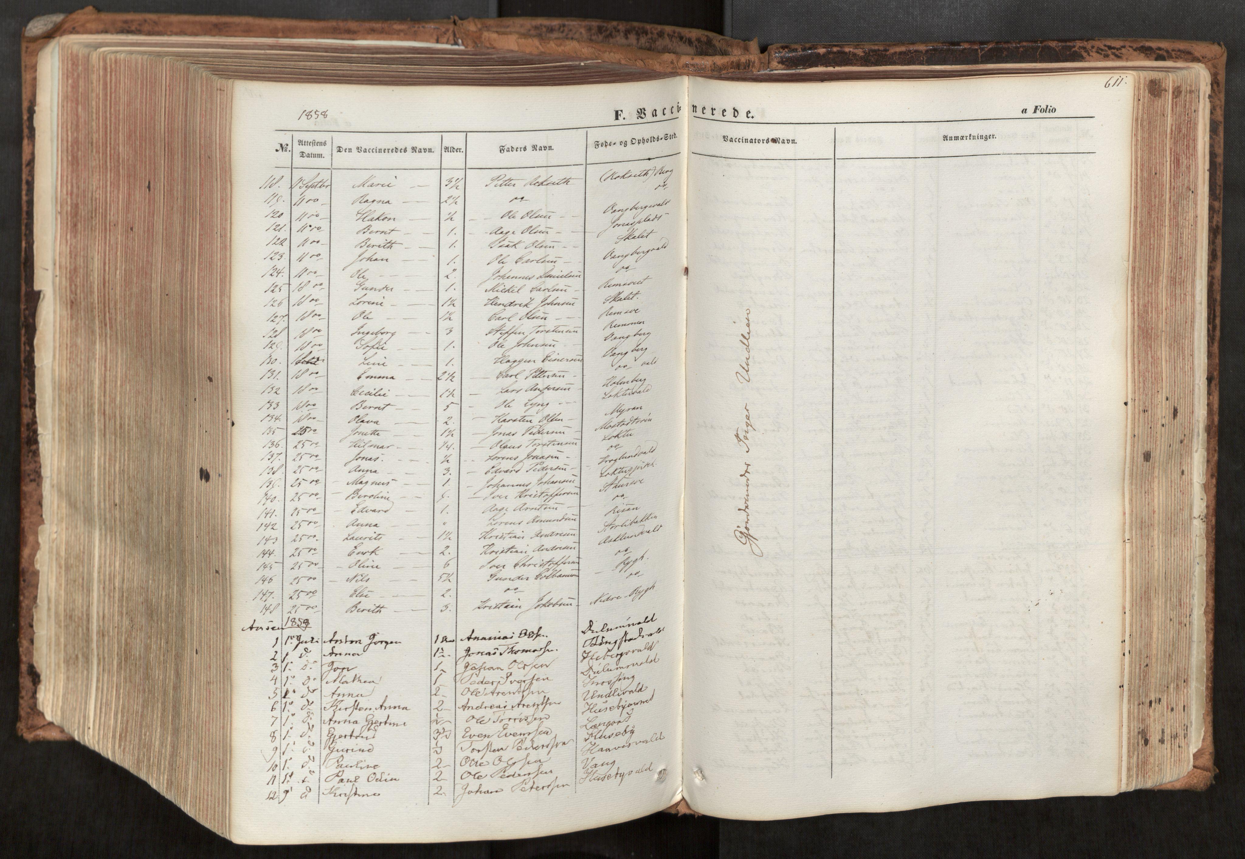 SAT, Ministerialprotokoller, klokkerbøker og fødselsregistre - Nord-Trøndelag, 713/L0116: Ministerialbok nr. 713A07, 1850-1877, s. 611