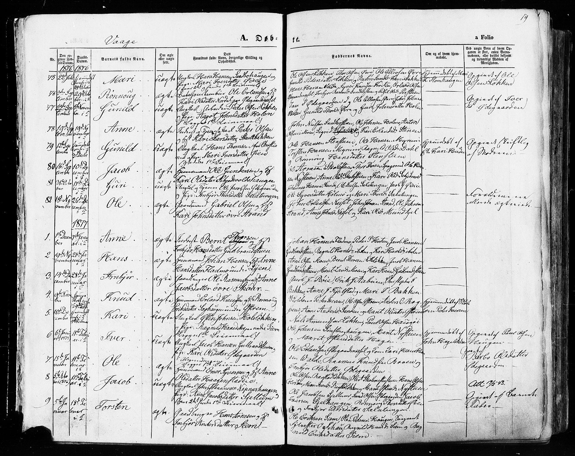 SAH, Vågå prestekontor, Ministerialbok nr. 7 /1, 1872-1886, s. 19