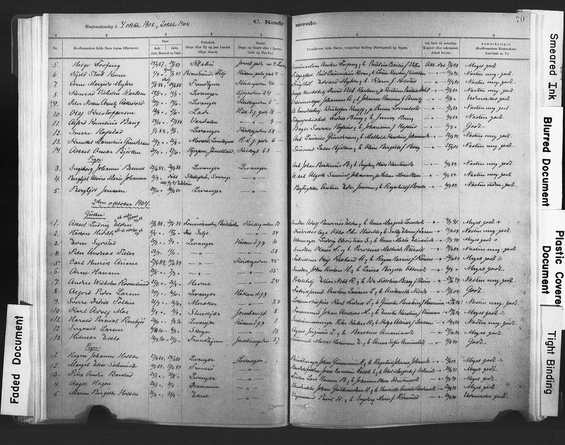 SAT, Ministerialprotokoller, klokkerbøker og fødselsregistre - Nord-Trøndelag, 720/L0189: Ministerialbok nr. 720A05, 1880-1911, s. 70
