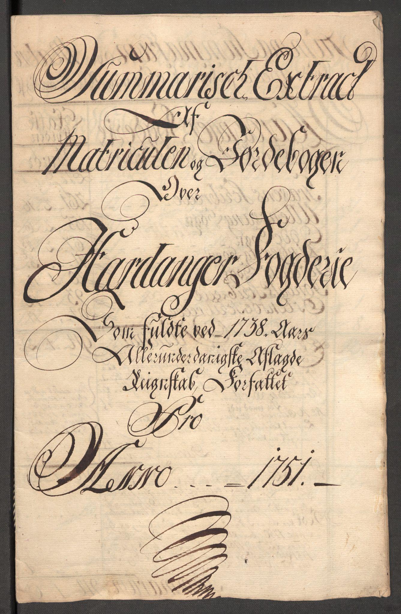 RA, Rentekammeret inntil 1814, Reviderte regnskaper, Fogderegnskap, R48/L3056: Fogderegnskap Sunnhordland og Hardanger, 1751, s. 244