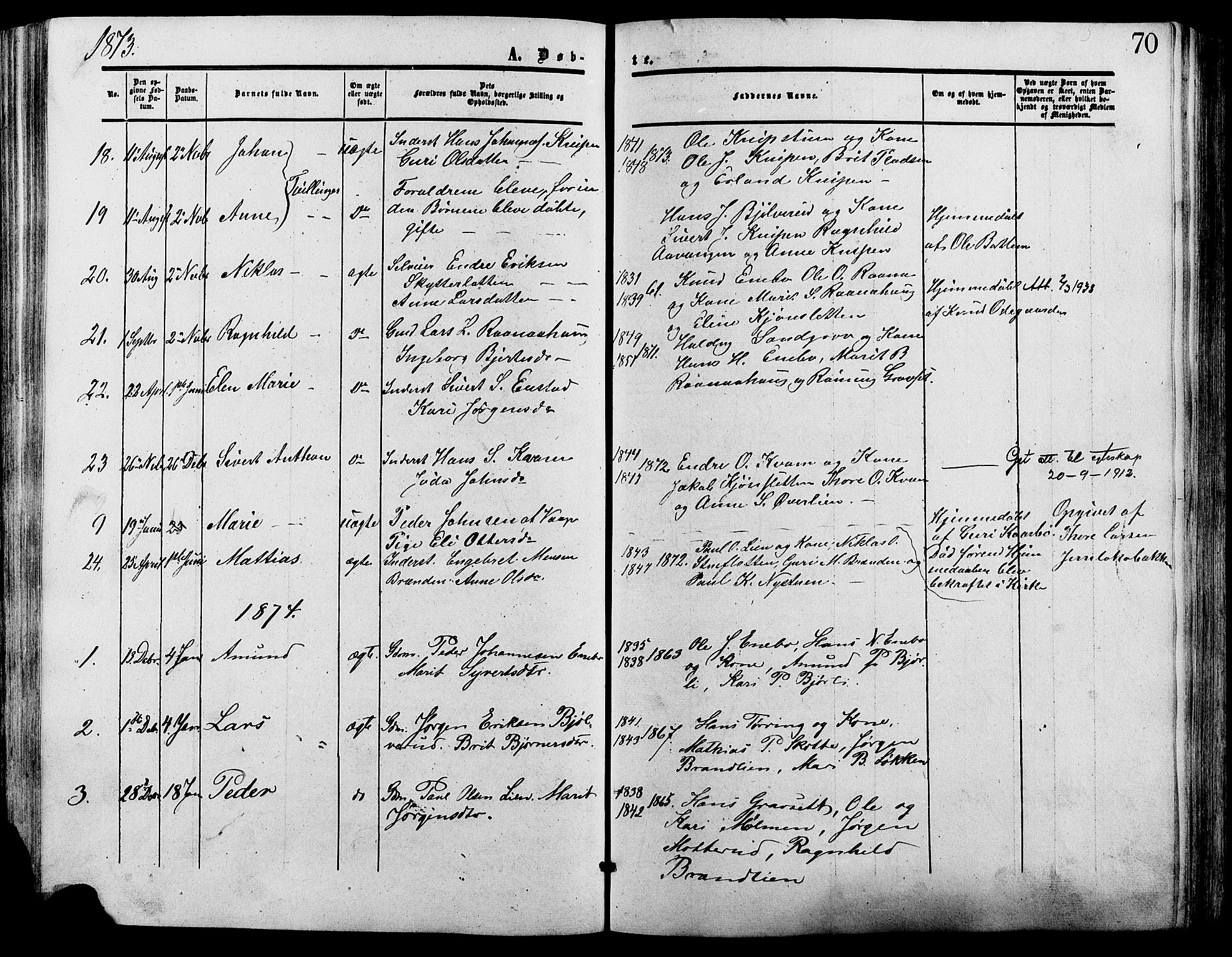 SAH, Lesja prestekontor, Ministerialbok nr. 9, 1854-1889, s. 70