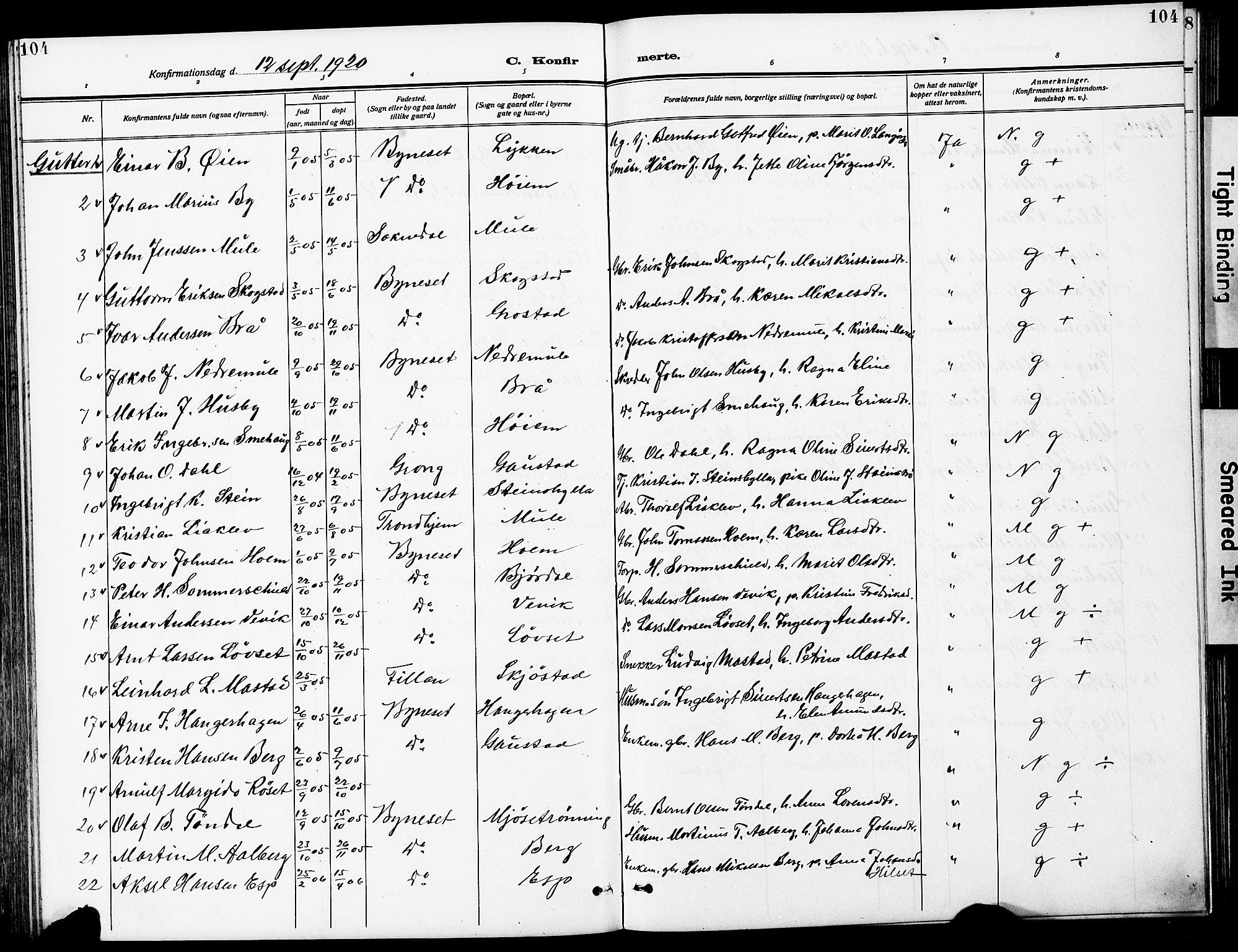 SAT, Ministerialprotokoller, klokkerbøker og fødselsregistre - Sør-Trøndelag, 612/L0388: Klokkerbok nr. 612C04, 1909-1929, s. 104