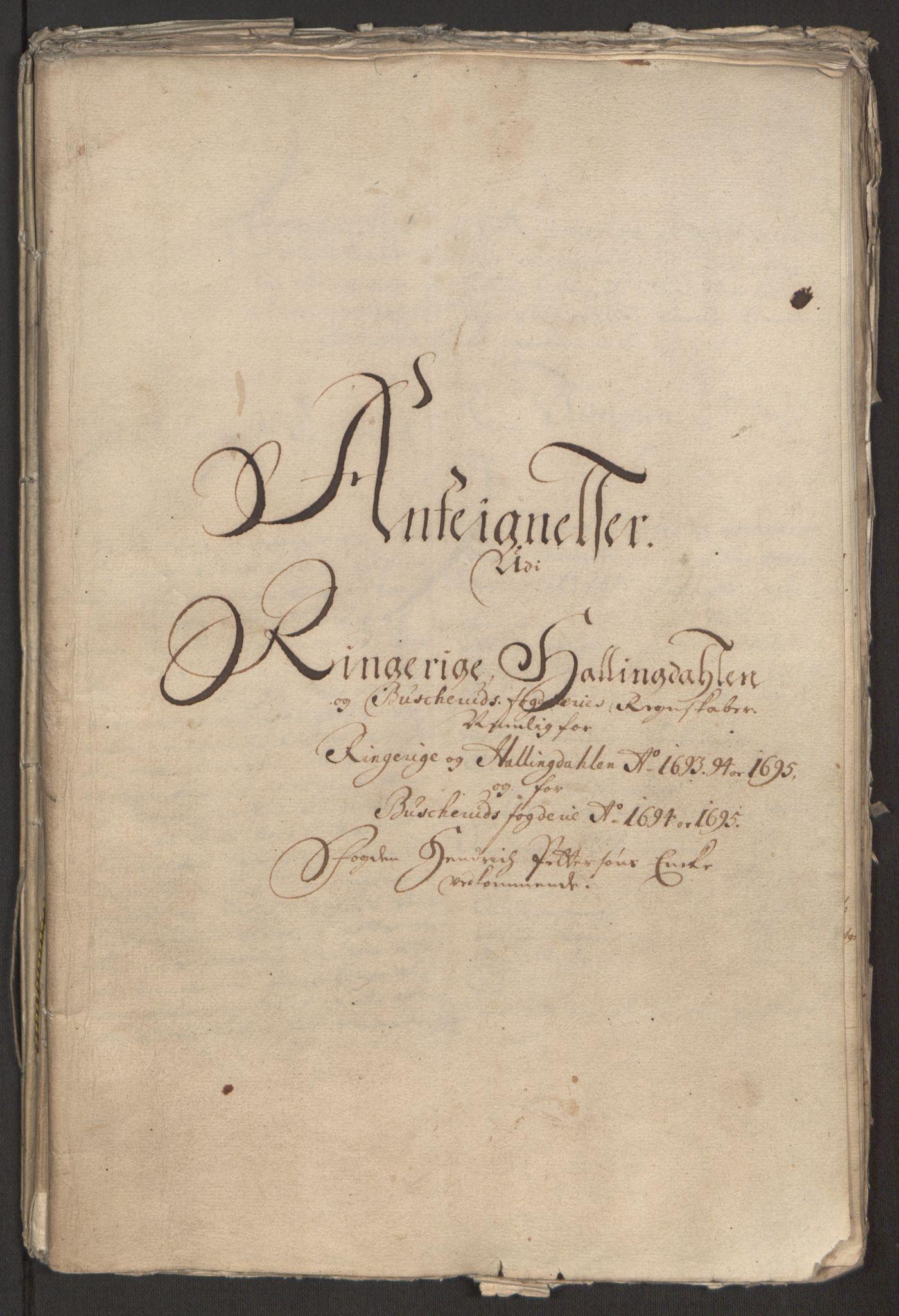 RA, Rentekammeret inntil 1814, Reviderte regnskaper, Fogderegnskap, R22/L1452: Fogderegnskap Ringerike, Hallingdal og Buskerud, 1695, s. 344