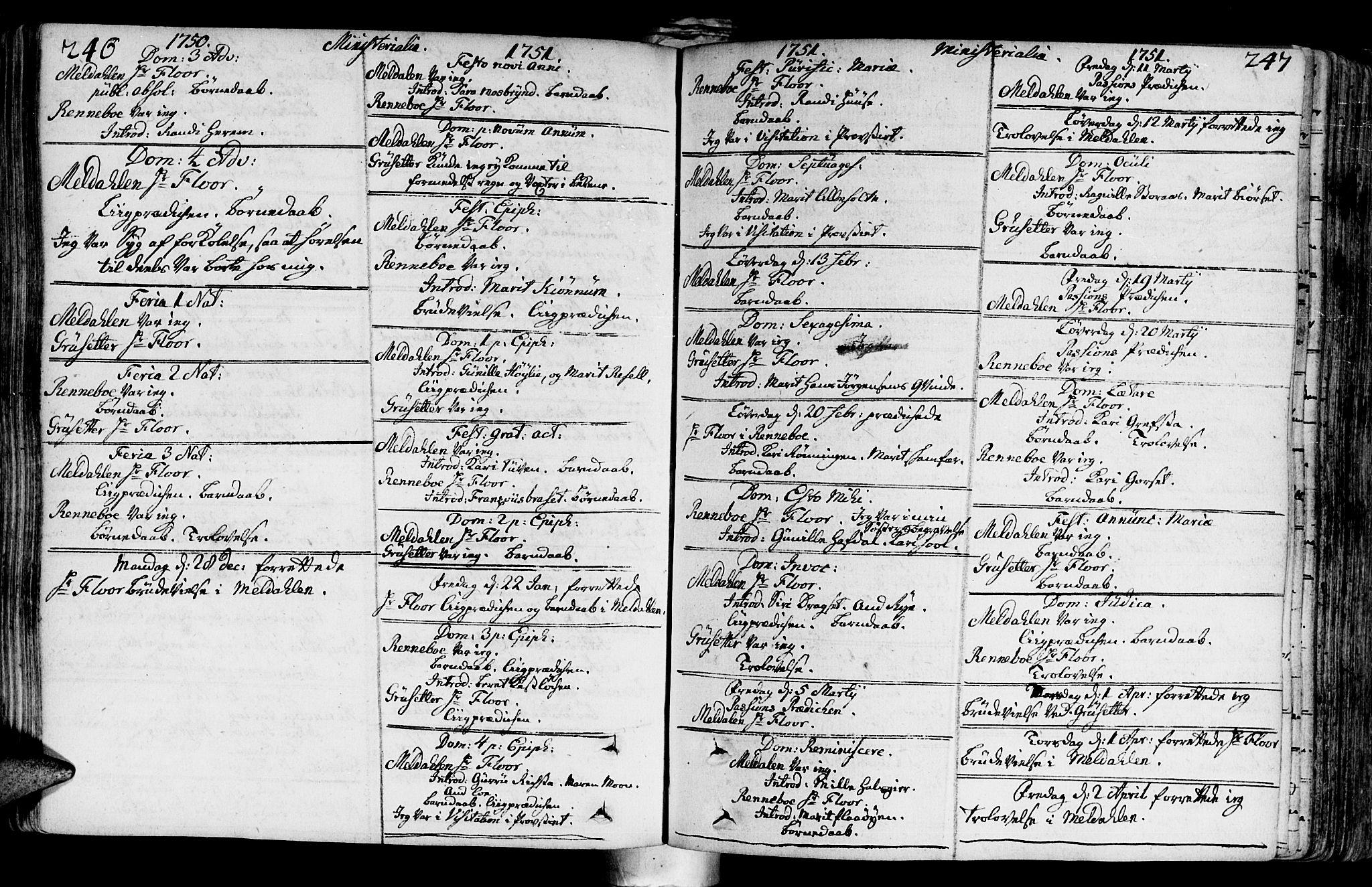SAT, Ministerialprotokoller, klokkerbøker og fødselsregistre - Sør-Trøndelag, 672/L0850: Ministerialbok nr. 672A03, 1725-1751, s. 246-247