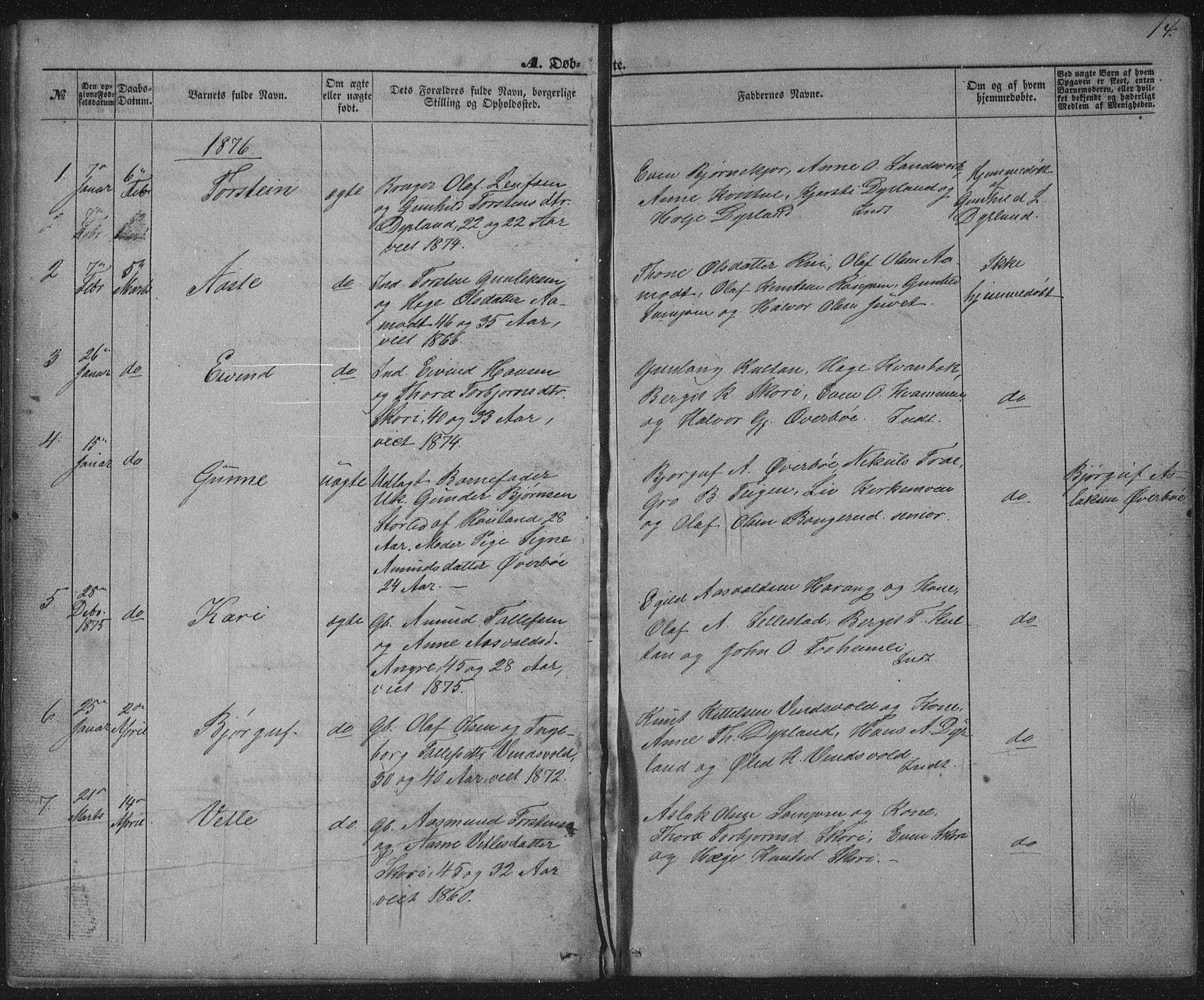 SAKO, Seljord kirkebøker, G/Gc/L0002: Klokkerbok nr. III 2, 1872-1886, s. 14