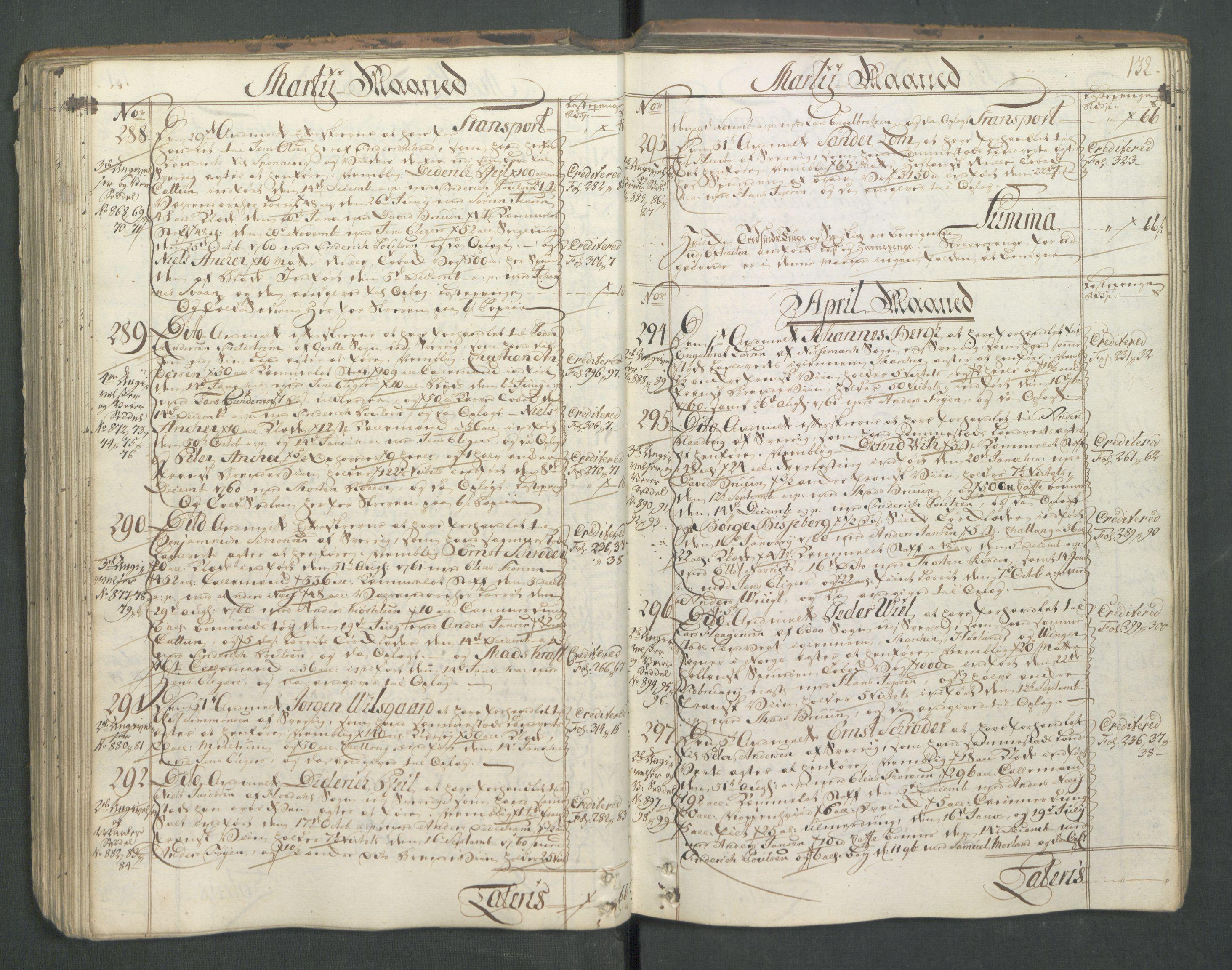RA, Generaltollkammeret, tollregnskaper, R01/L0046: Tollregnskaper Fredrikshald, 1762, s. 131b-132a
