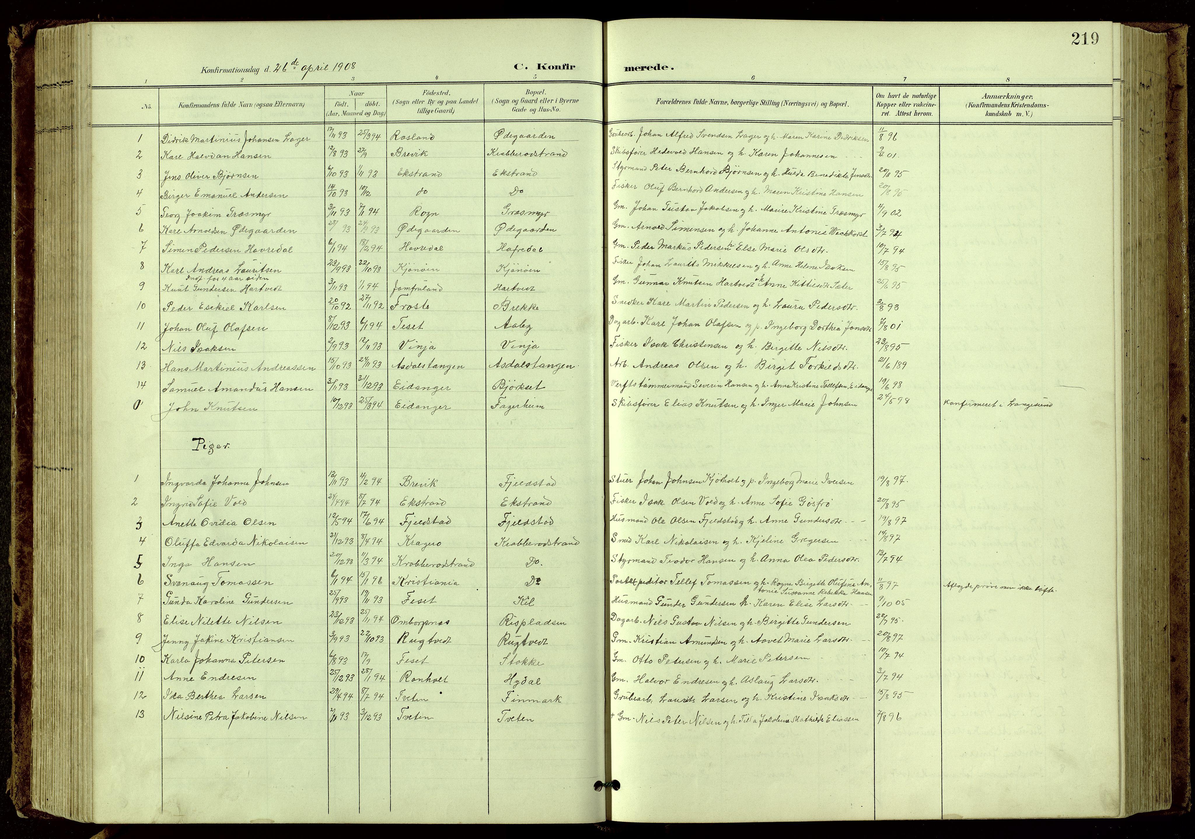 SAKO, Bamble kirkebøker, G/Ga/L0010: Klokkerbok nr. I 10, 1901-1919, s. 219