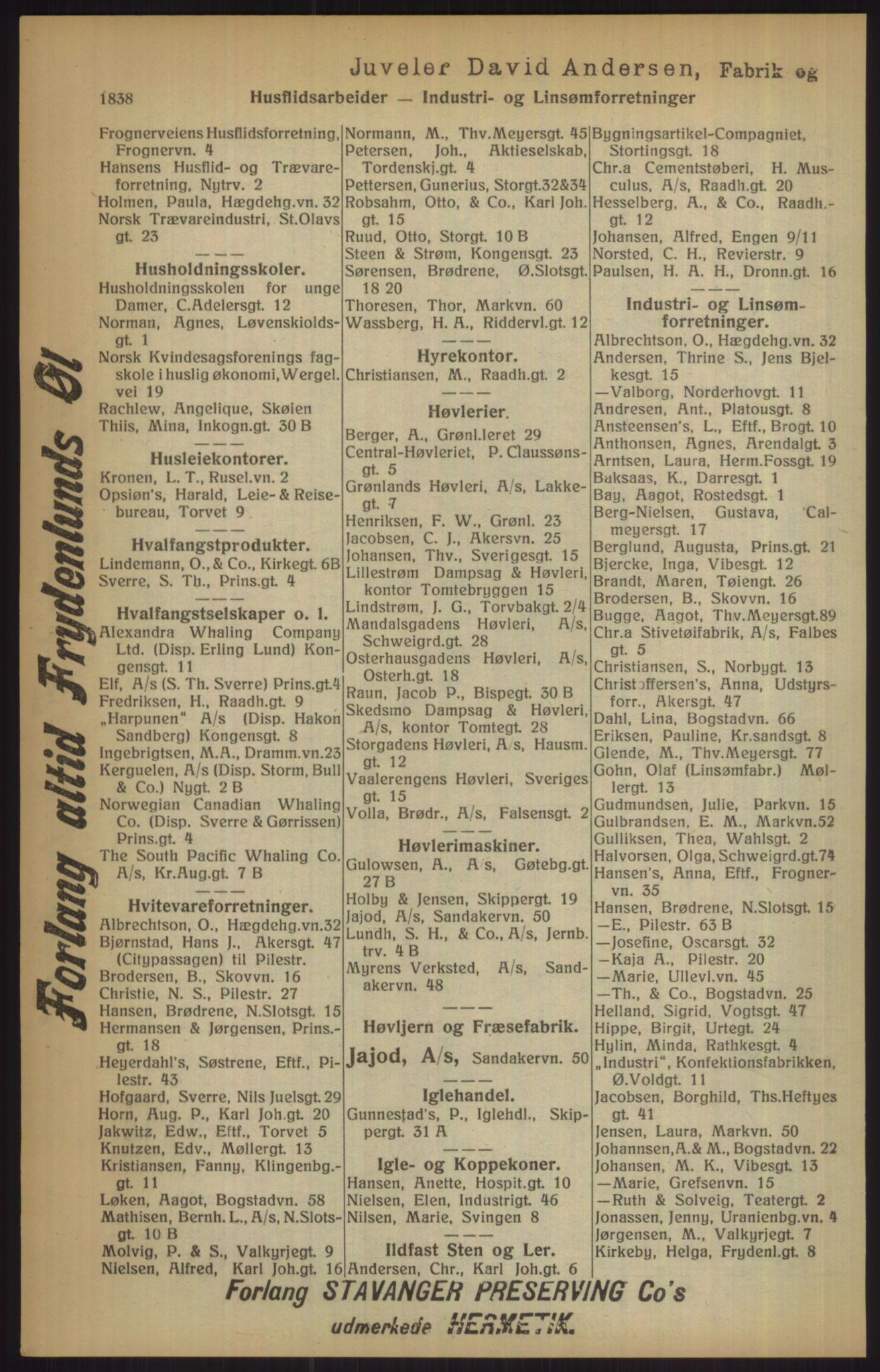RA, Kristiania adressebok (publikasjon)*, 1915, s. 1838