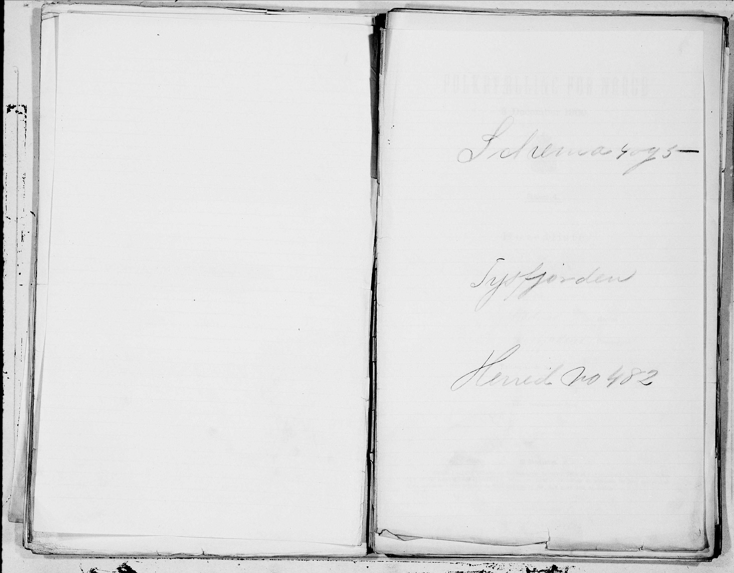 SAT, Folketelling 1900 for 1850 Tysfjord herred, 1900, s. 1