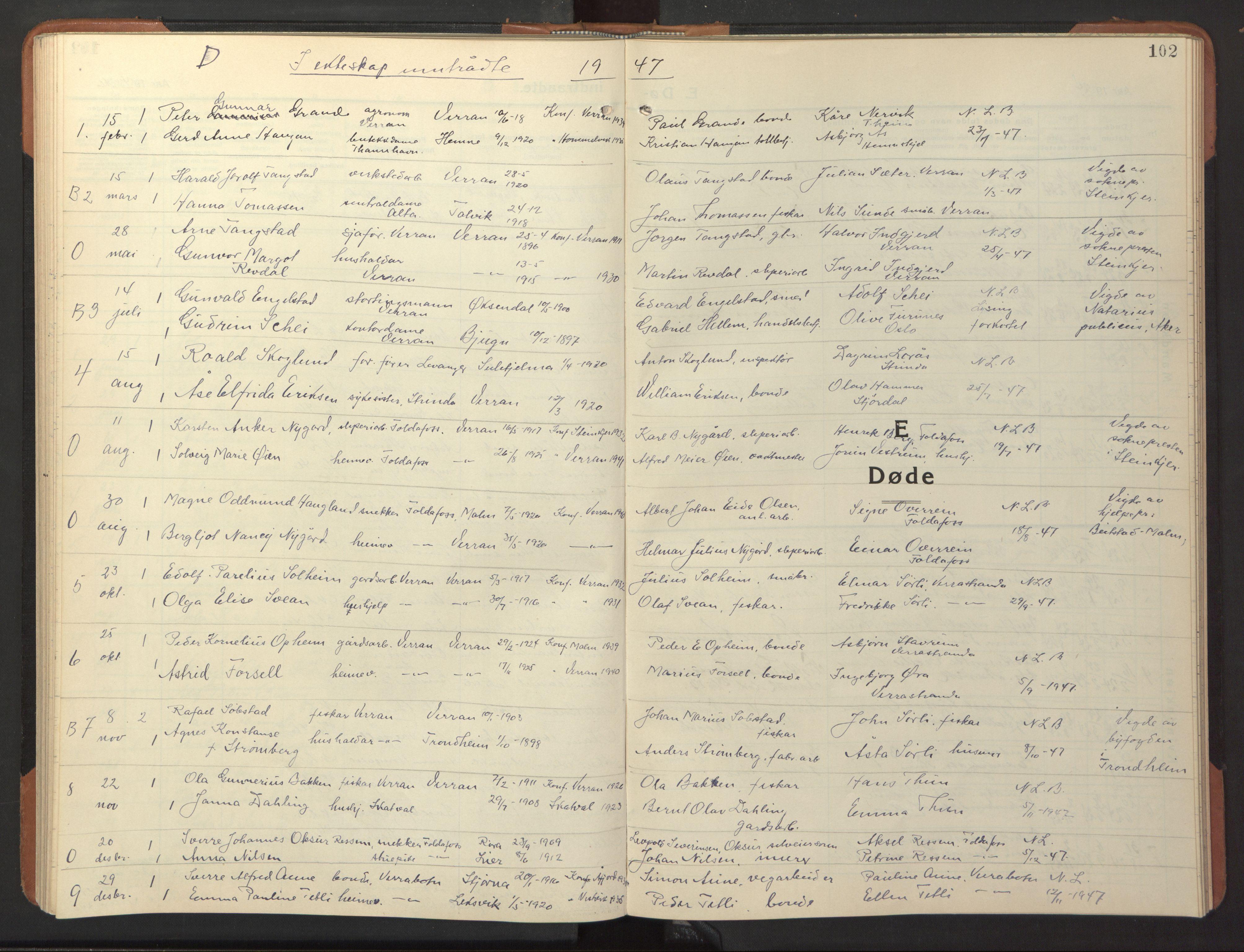 SAT, Ministerialprotokoller, klokkerbøker og fødselsregistre - Nord-Trøndelag, 744/L0425: Klokkerbok nr. 744C04, 1924-1947, s. 102
