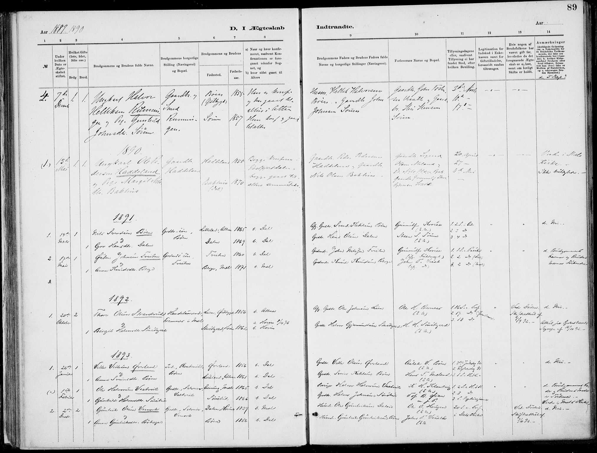 SAKO, Rjukan kirkebøker, F/Fa/L0001: Ministerialbok nr. 1, 1878-1912, s. 89