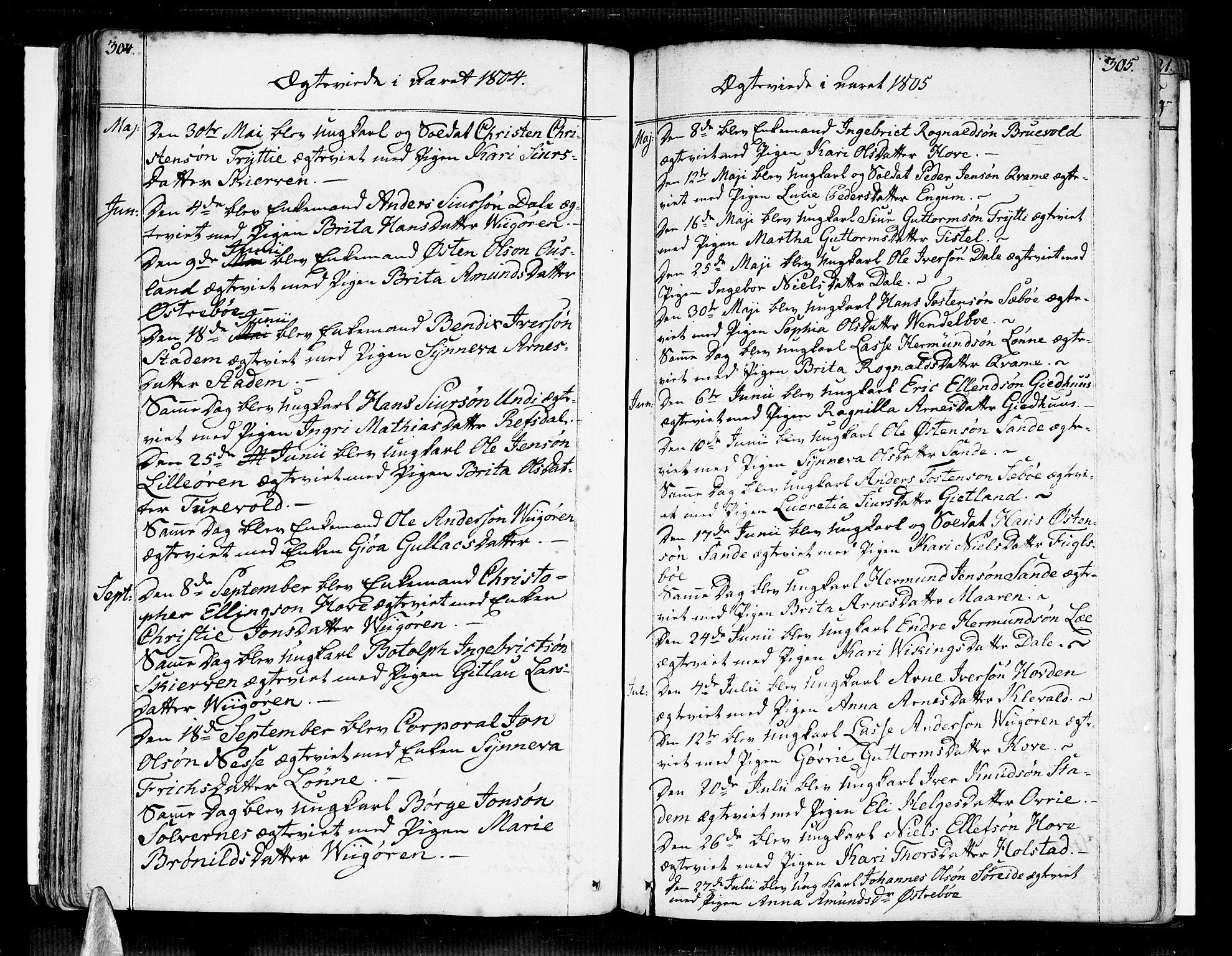 SAB, Vik Sokneprestembete, Ministerialbok nr. A 5, 1787-1820, s. 304-305