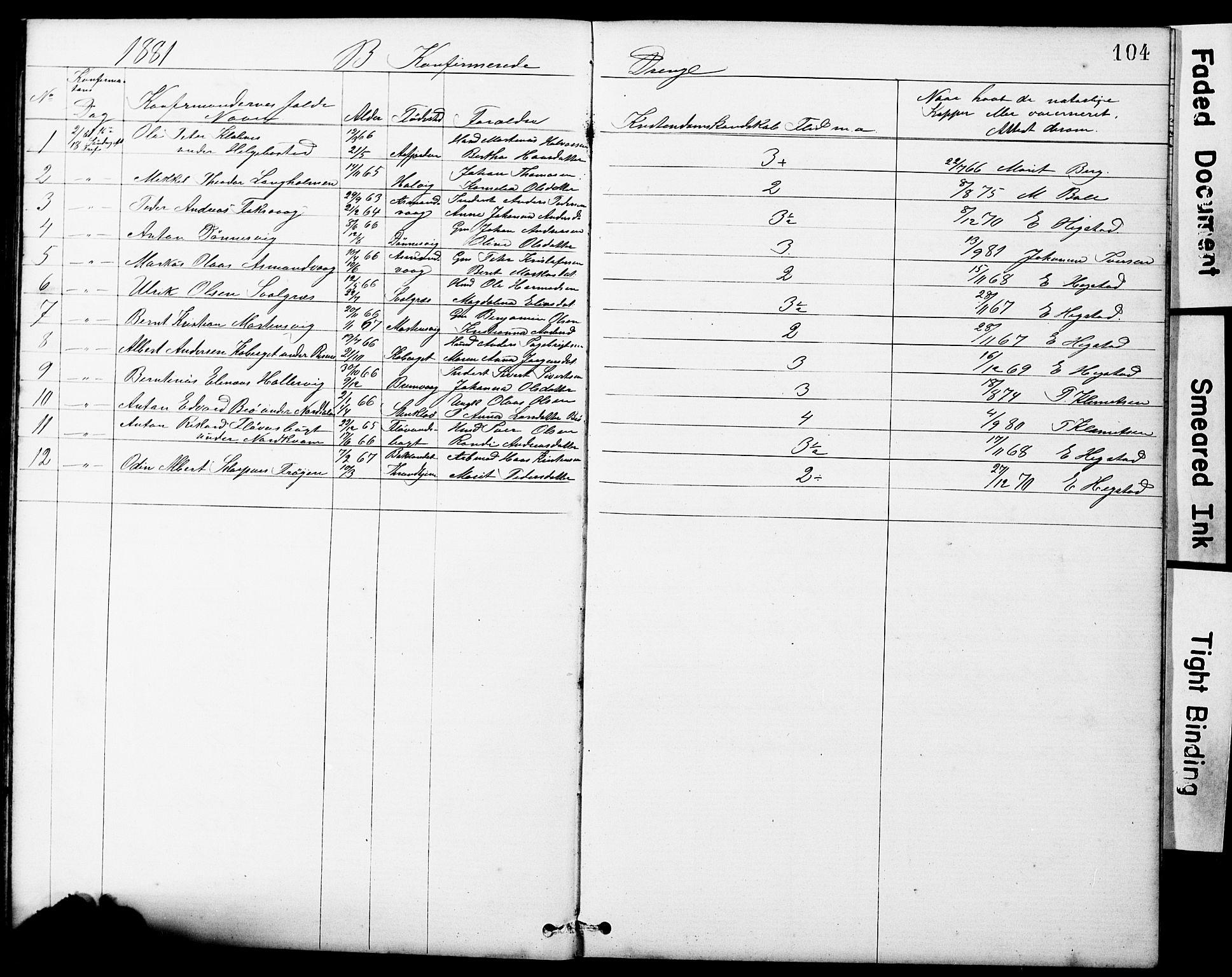 SAT, Ministerialprotokoller, klokkerbøker og fødselsregistre - Sør-Trøndelag, 634/L0541: Klokkerbok nr. 634C03, 1874-1891, s. 104