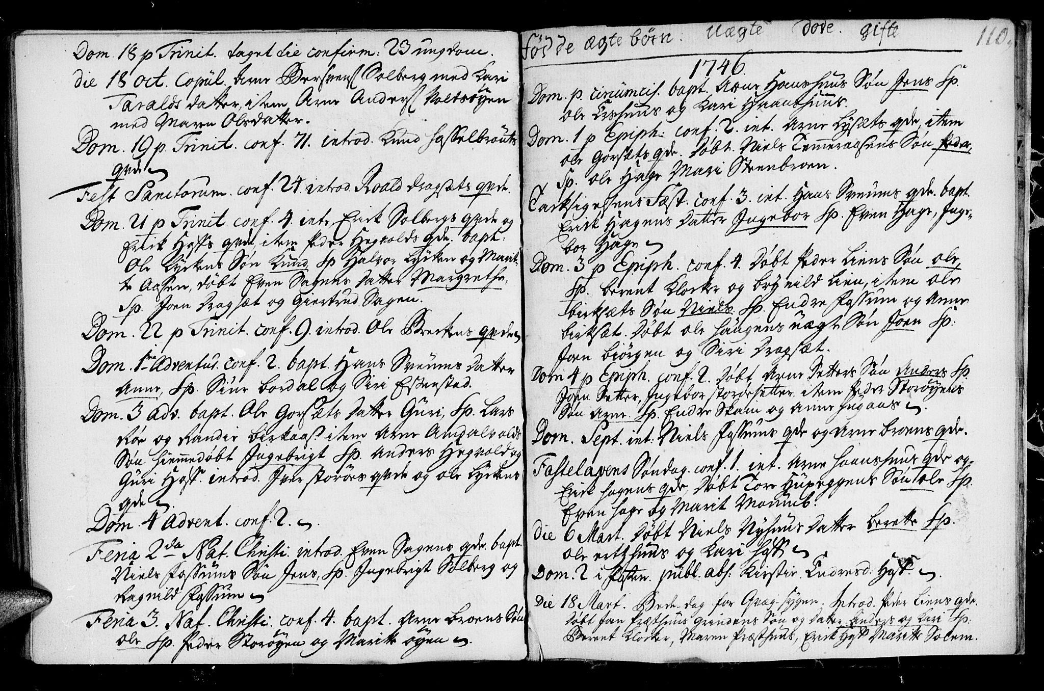SAT, Ministerialprotokoller, klokkerbøker og fødselsregistre - Sør-Trøndelag, 689/L1036: Ministerialbok nr. 689A01, 1696-1746, s. 110