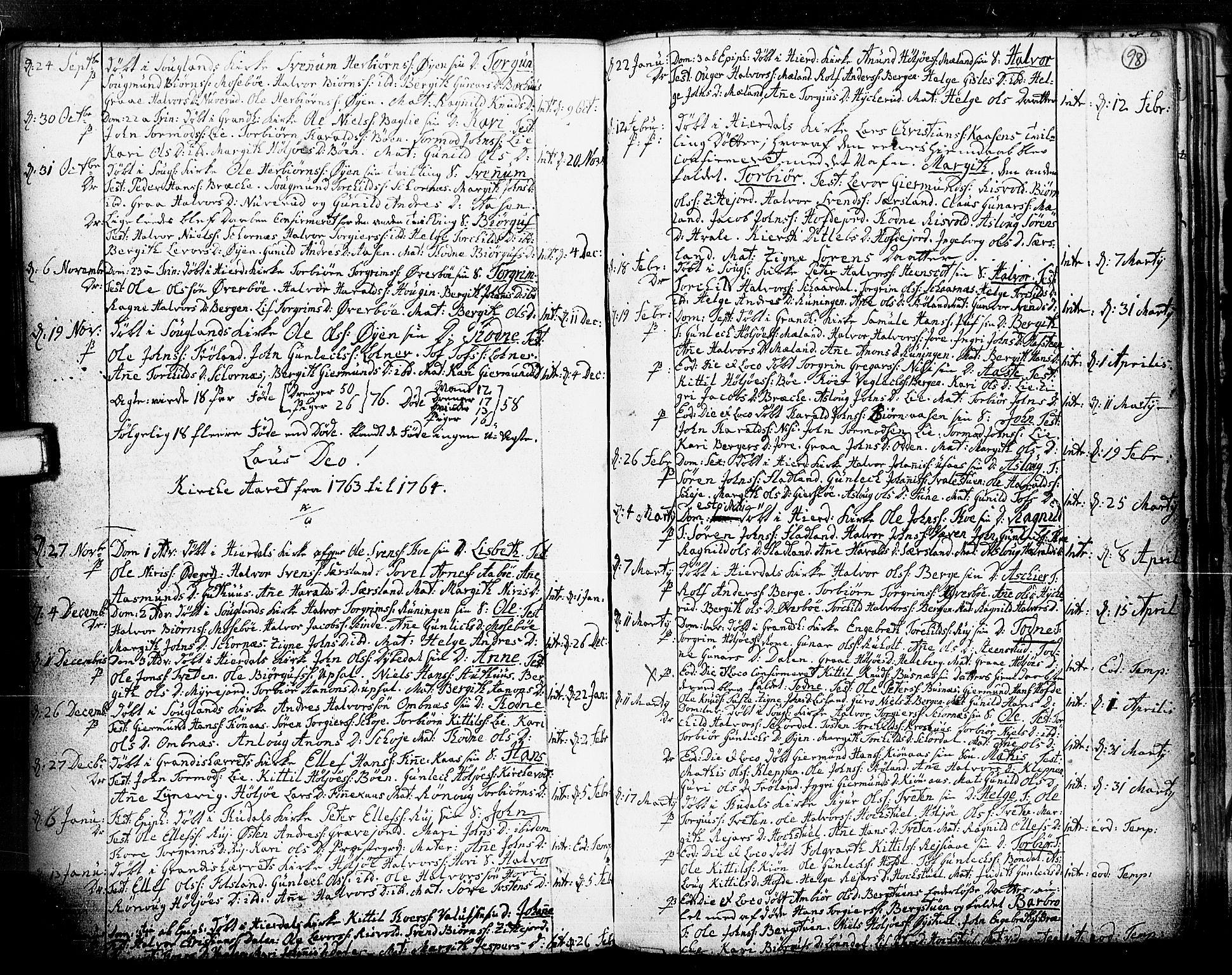 SAKO, Hjartdal kirkebøker, F/Fa/L0003: Ministerialbok nr. I 3, 1727-1775, s. 98