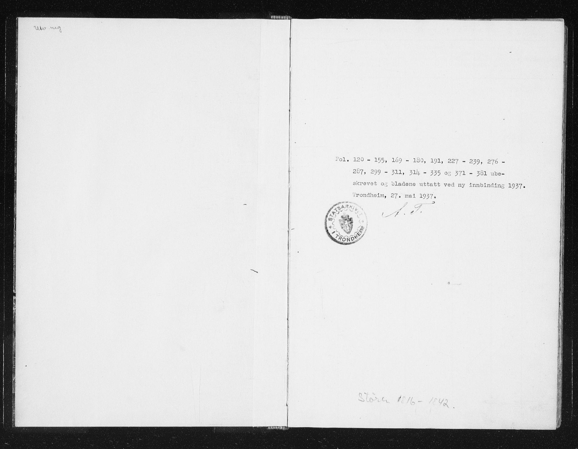 SAT, Ministerialprotokoller, klokkerbøker og fødselsregistre - Sør-Trøndelag, 687/L0996: Ministerialbok nr. 687A04, 1816-1842