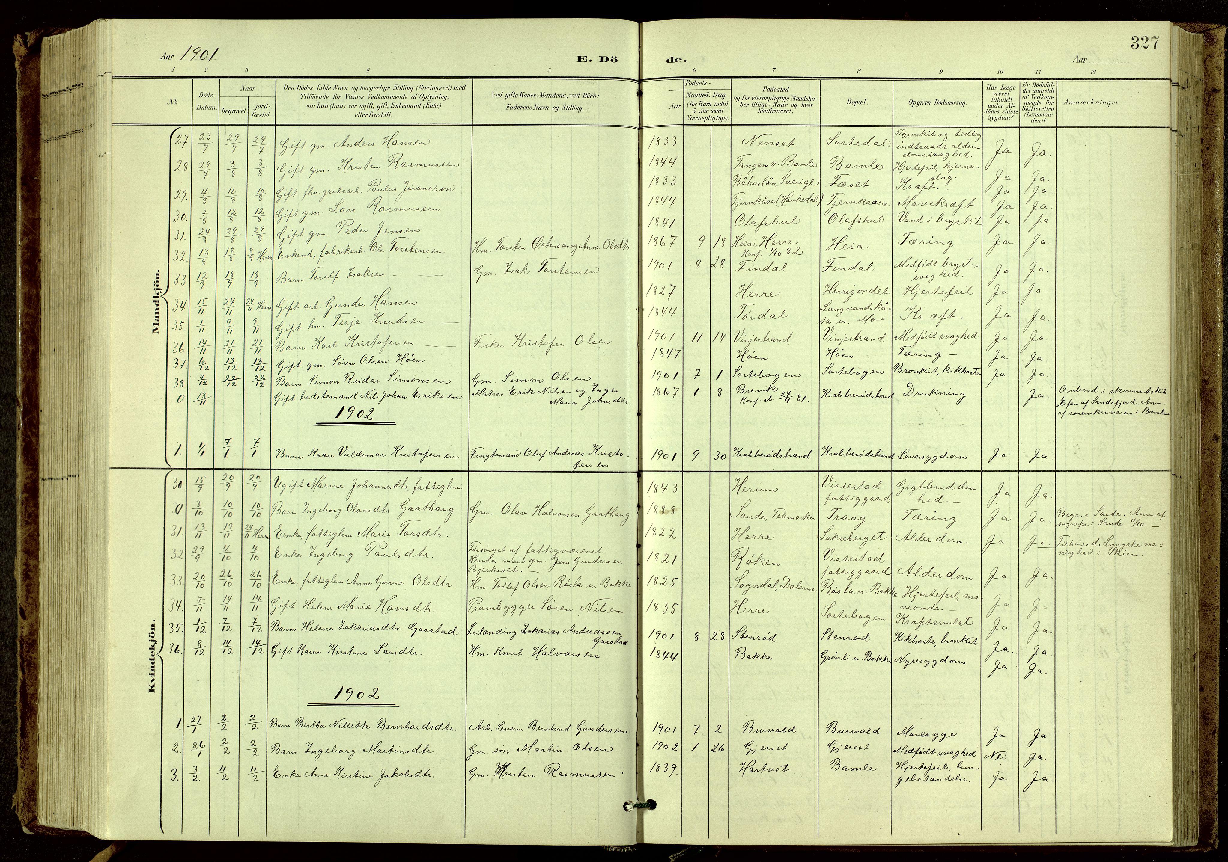 SAKO, Bamble kirkebøker, G/Ga/L0010: Klokkerbok nr. I 10, 1901-1919, s. 327