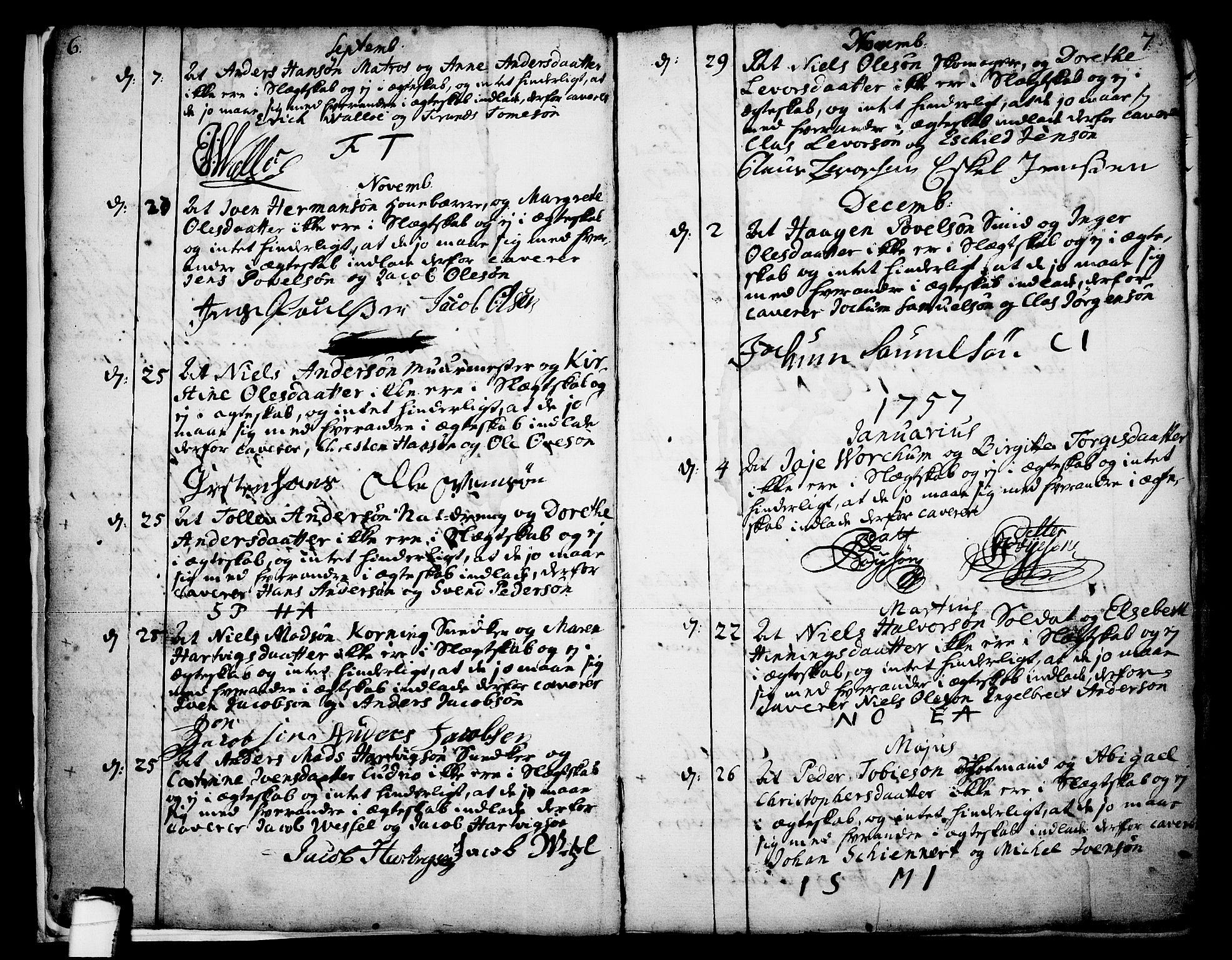 SAKO, Skien kirkebøker, F/Fa/L0003: Ministerialbok nr. 3, 1755-1791, s. 6-7