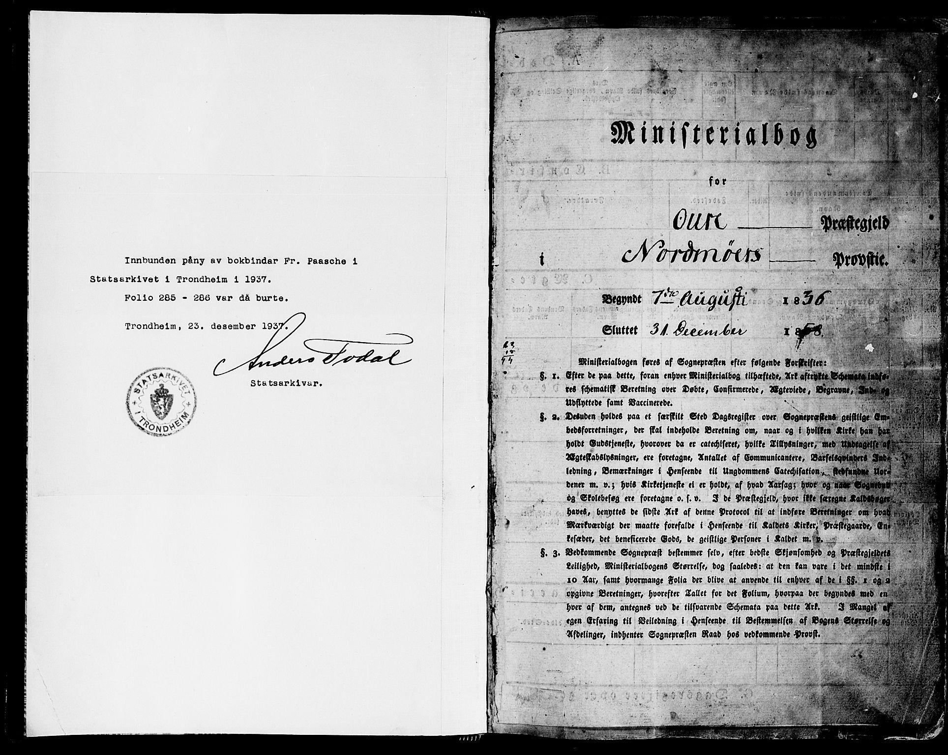 SAT, Ministerialprotokoller, klokkerbøker og fødselsregistre - Møre og Romsdal, 578/L0904: Ministerialbok nr. 578A03, 1836-1858