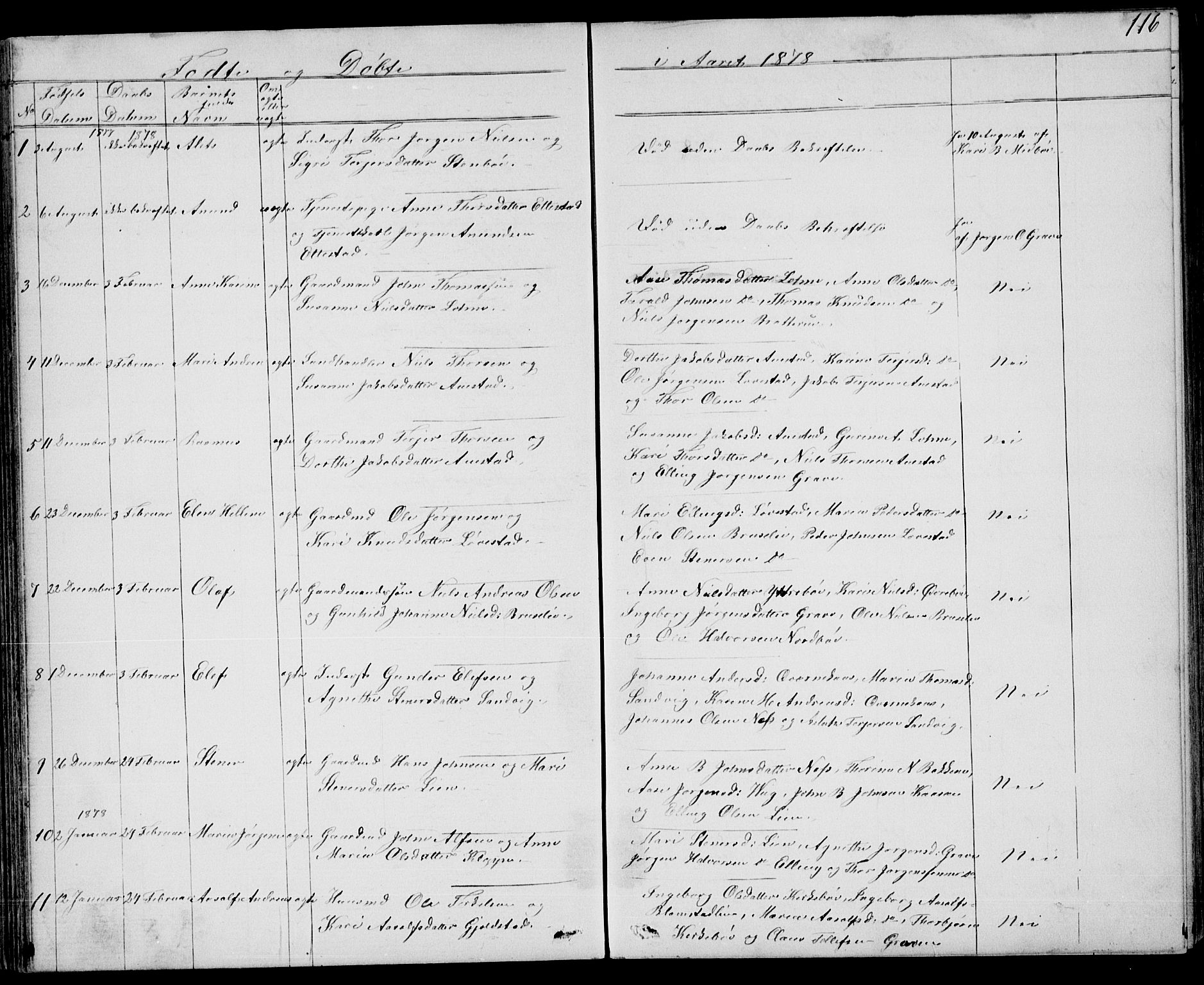 SAKO, Drangedal kirkebøker, G/Gb/L0001: Klokkerbok nr. II 1, 1856-1894, s. 116