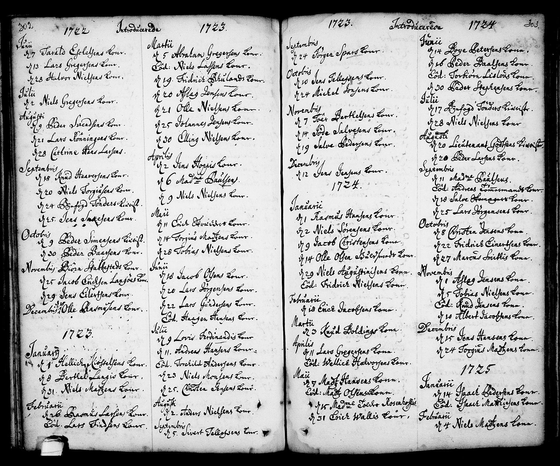 SAKO, Kragerø kirkebøker, F/Fa/L0001: Ministerialbok nr. 1, 1702-1766, s. 302-303