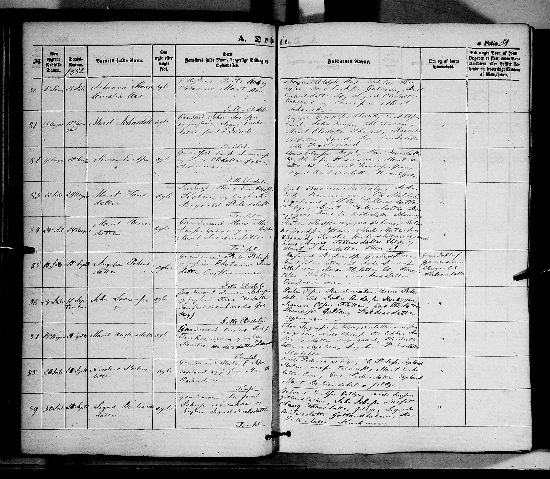 SAH, Tynset prestekontor, Ministerialbok nr. 20, 1848-1862, s. 54