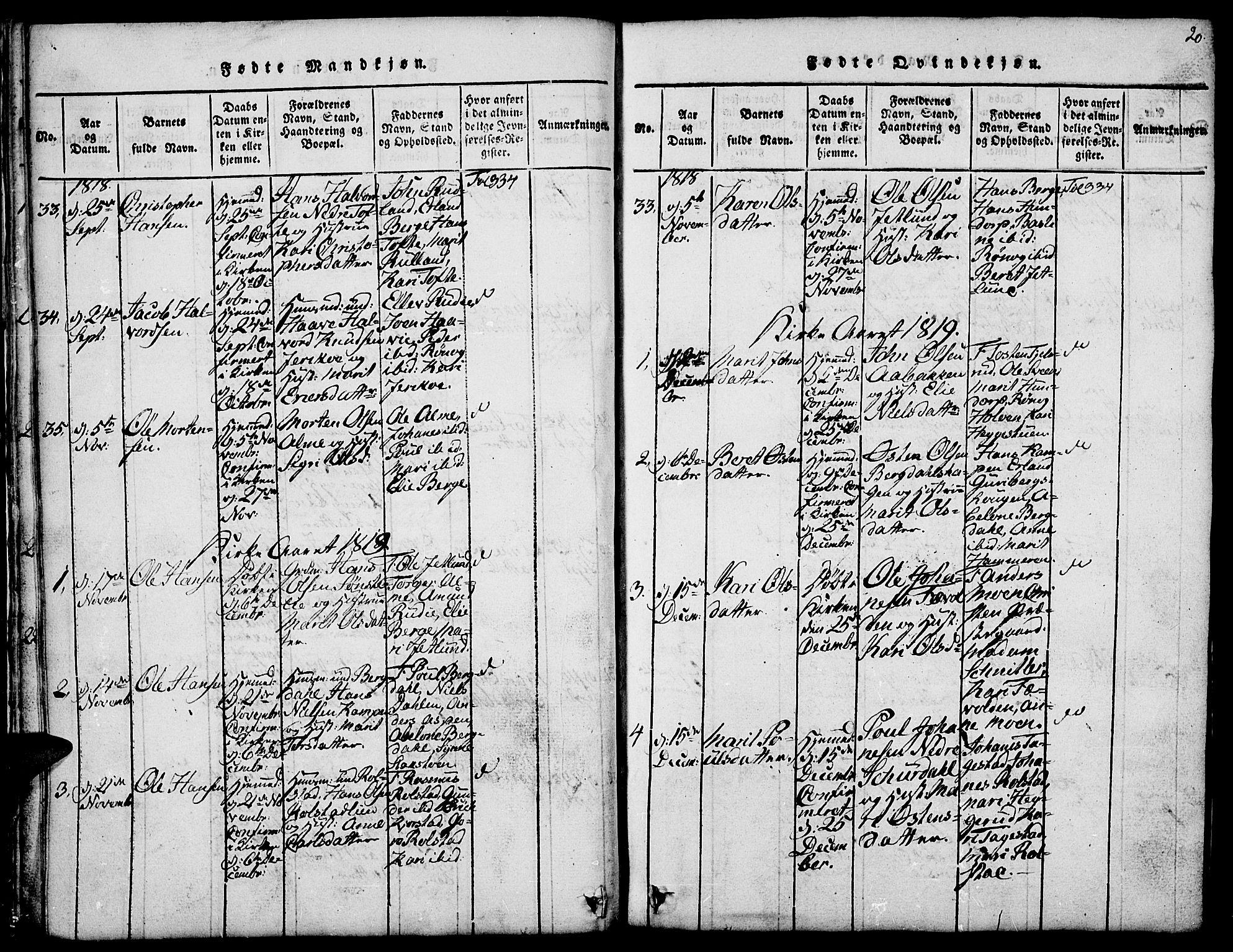 SAH, Fron prestekontor, H/Ha/Hab/L0001: Klokkerbok nr. 1, 1816-1843, s. 20