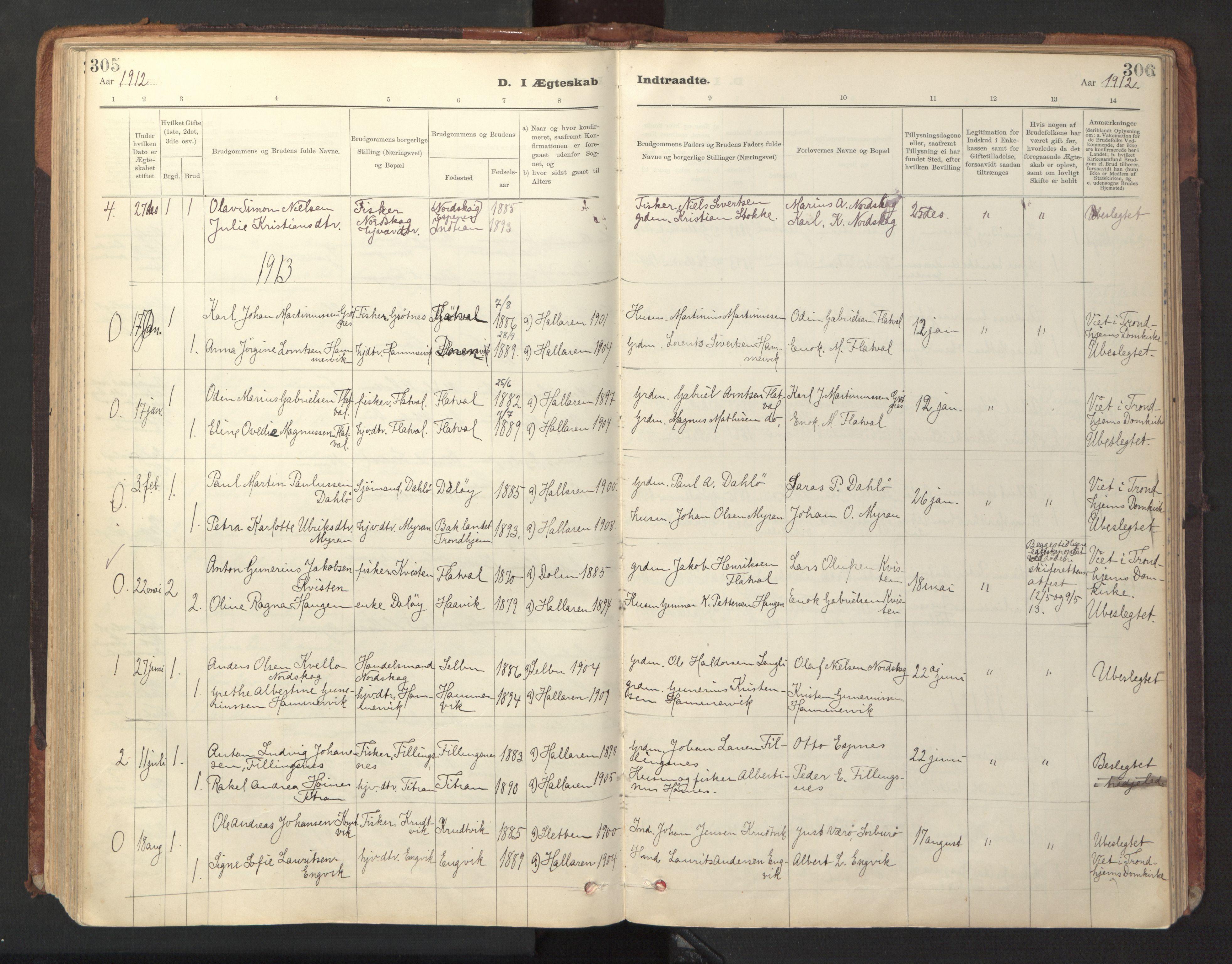 SAT, Ministerialprotokoller, klokkerbøker og fødselsregistre - Sør-Trøndelag, 641/L0596: Ministerialbok nr. 641A02, 1898-1915, s. 305-306