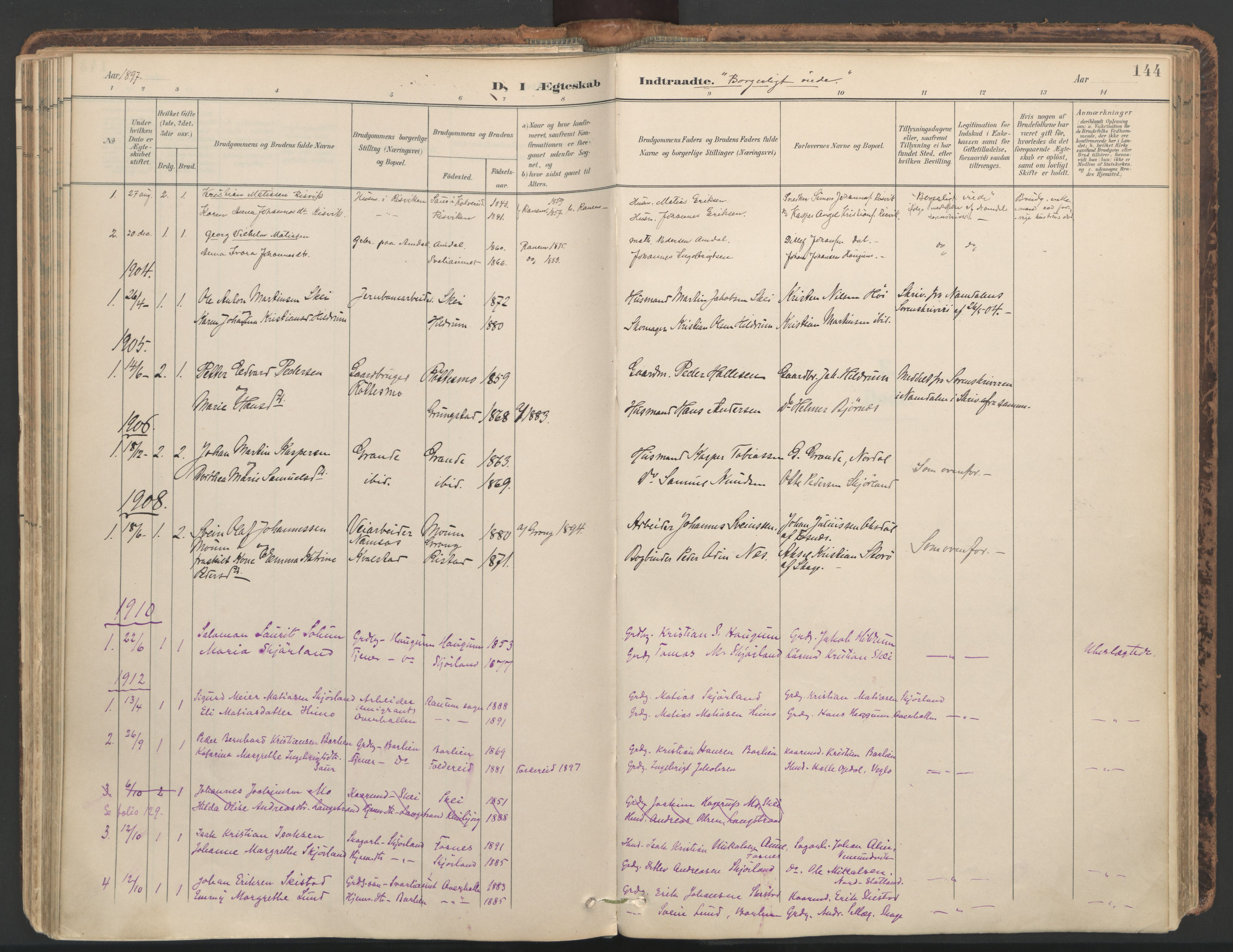 SAT, Ministerialprotokoller, klokkerbøker og fødselsregistre - Nord-Trøndelag, 764/L0556: Ministerialbok nr. 764A11, 1897-1924, s. 144