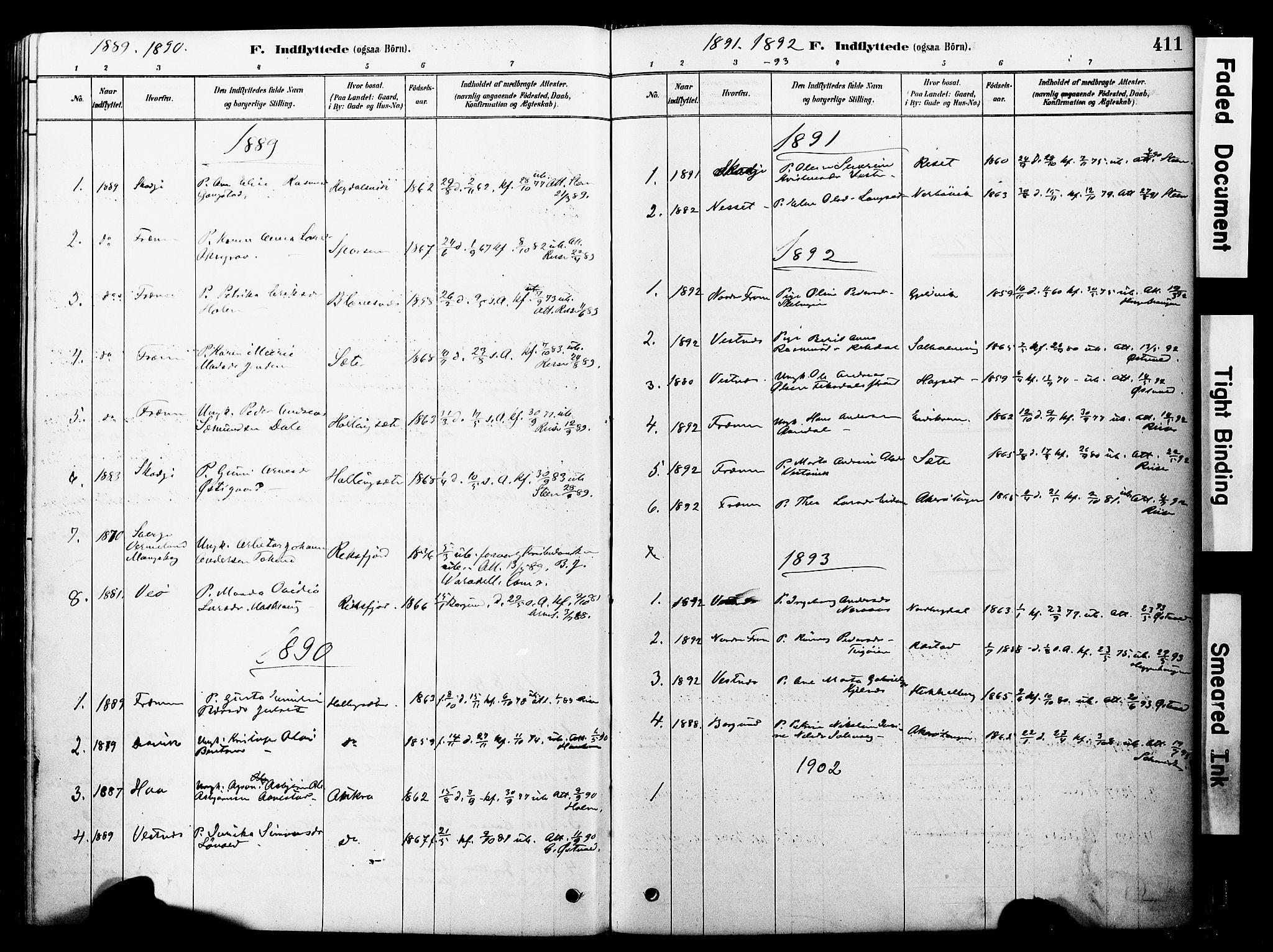 SAT, Ministerialprotokoller, klokkerbøker og fødselsregistre - Møre og Romsdal, 560/L0721: Ministerialbok nr. 560A05, 1878-1917, s. 411