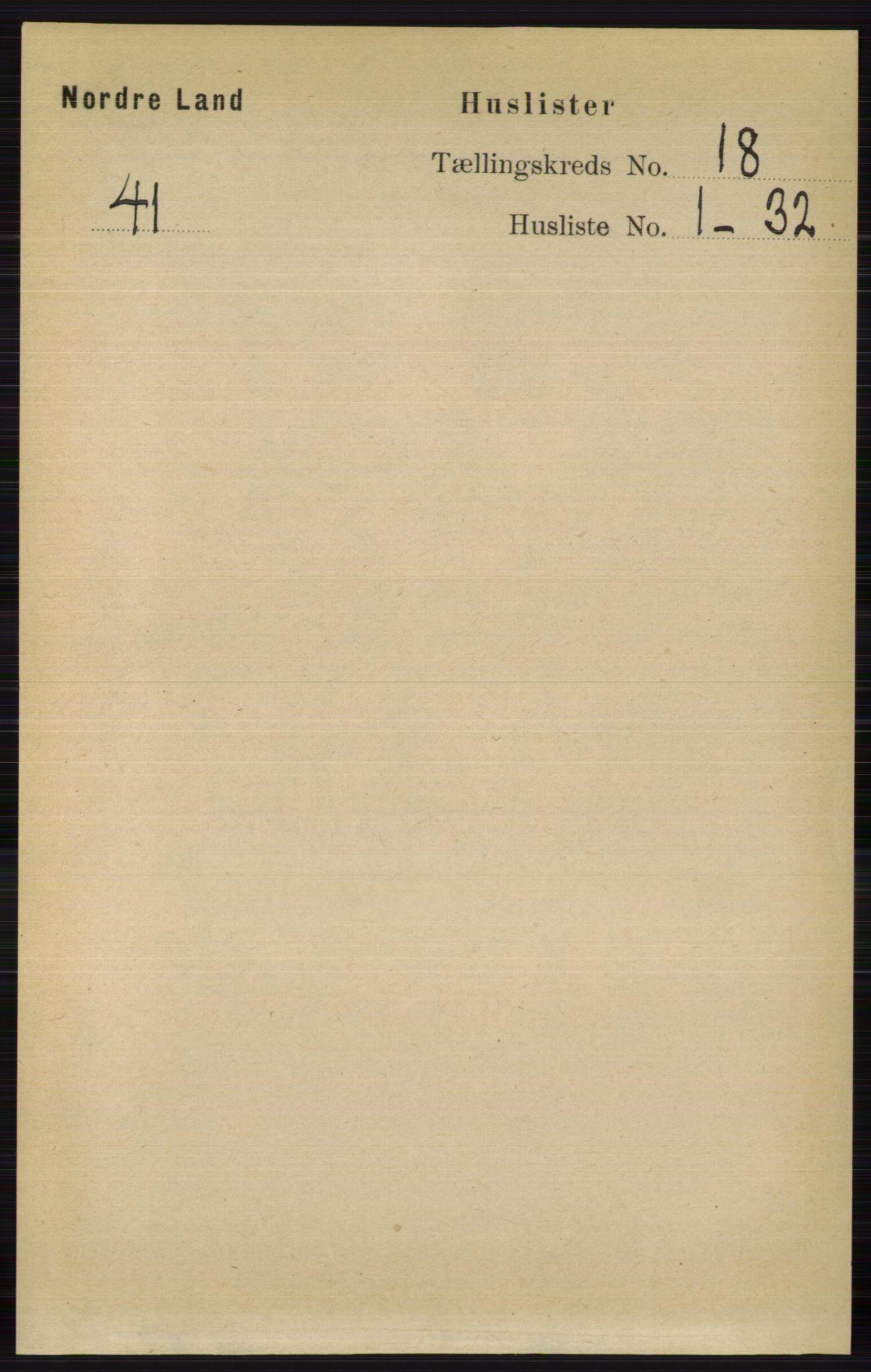 RA, Folketelling 1891 for 0538 Nordre Land herred, 1891, s. 4353