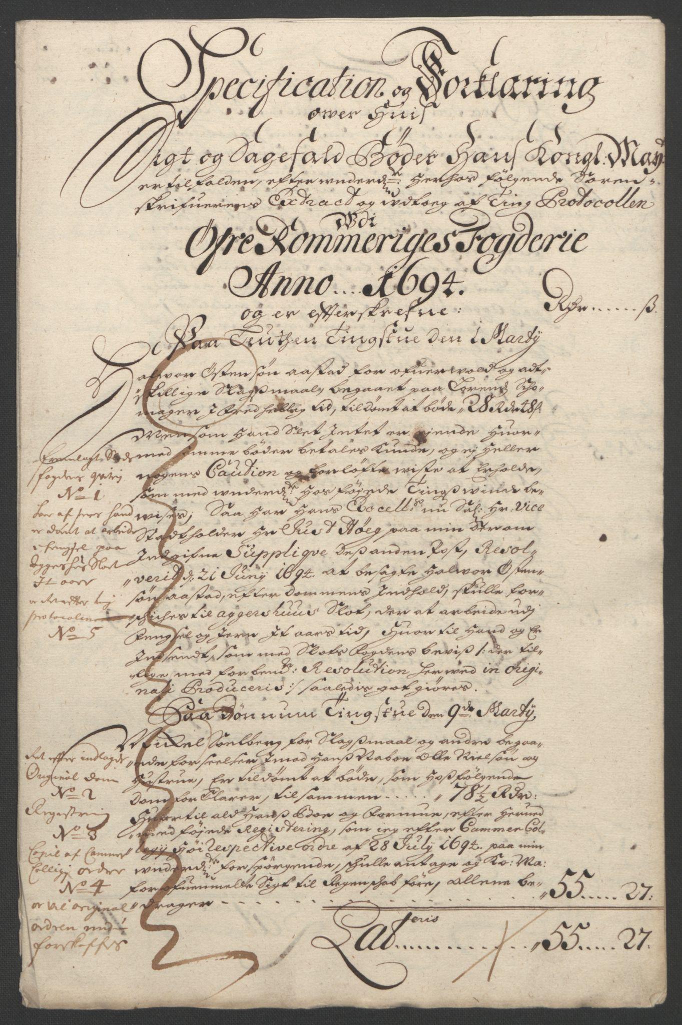 RA, Rentekammeret inntil 1814, Reviderte regnskaper, Fogderegnskap, R12/L0706: Fogderegnskap Øvre Romerike, 1694, s. 58