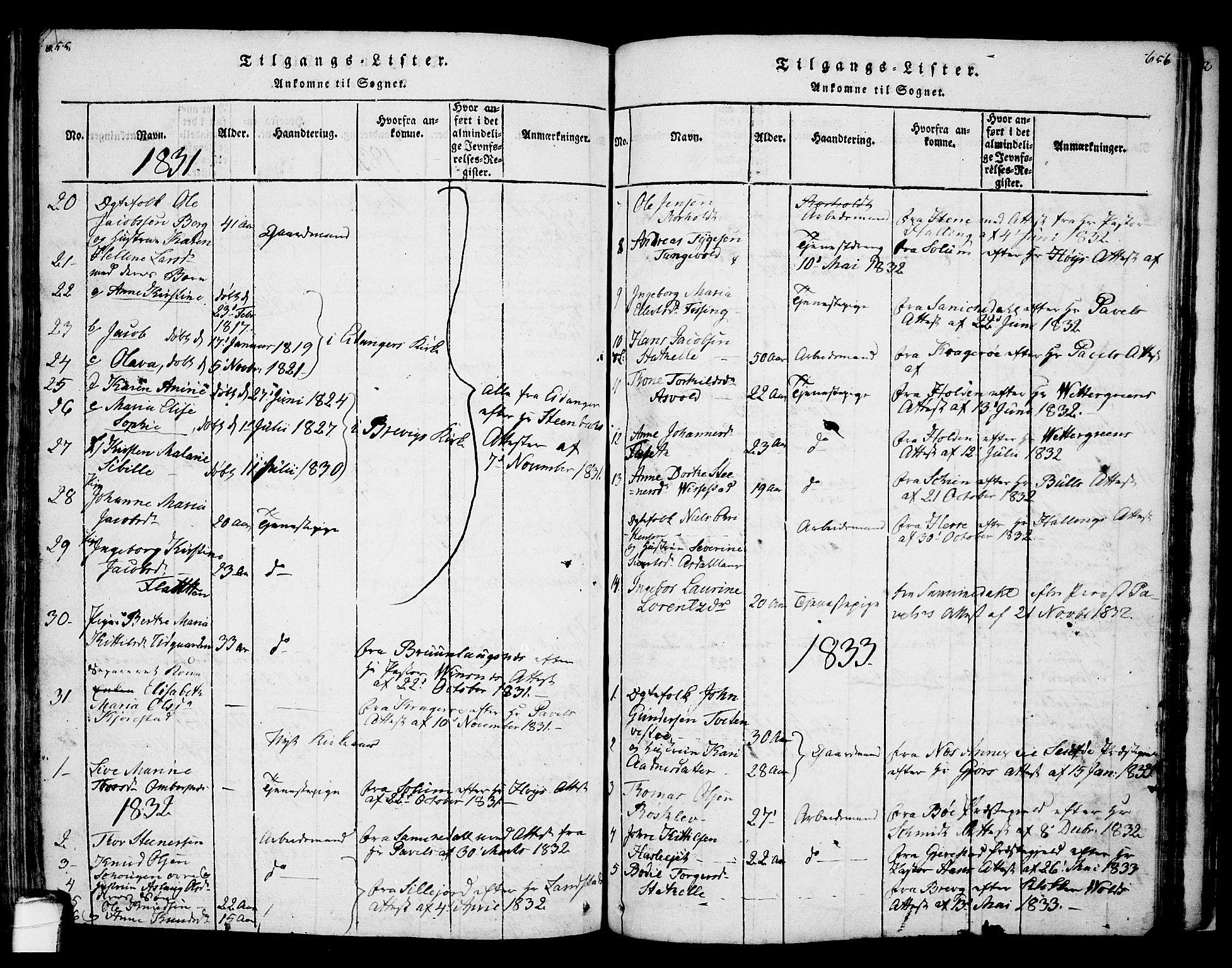 SAKO, Bamble kirkebøker, F/Fa/L0003: Ministerialbok nr. I 3 /1, 1814-1834, s. 655-656