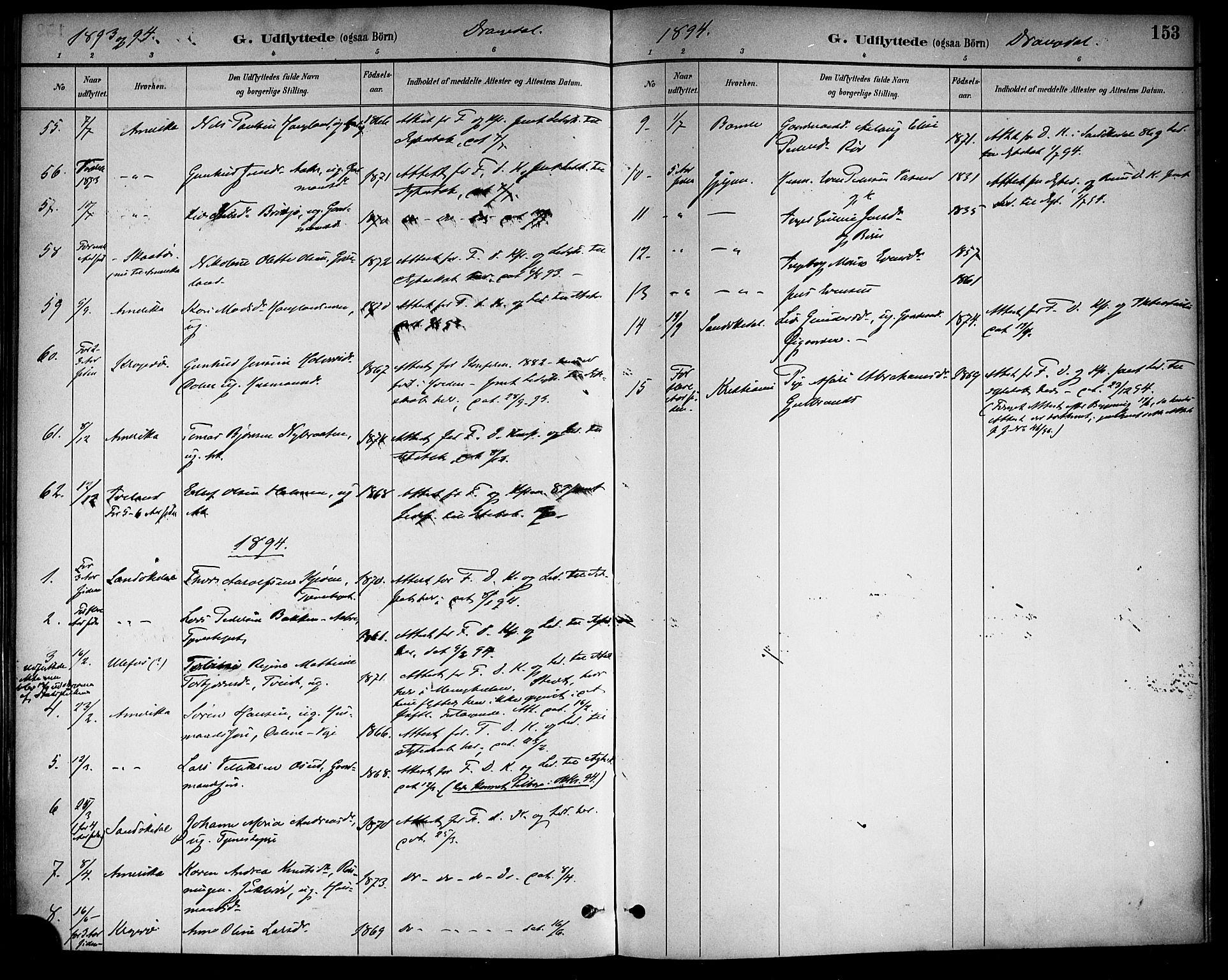 SAKO, Drangedal kirkebøker, F/Fa/L0011: Ministerialbok nr. 11 /1, 1885-1894, s. 153