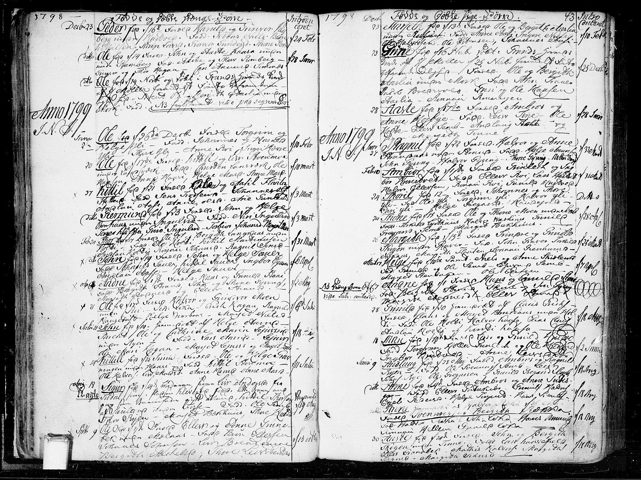 SAKO, Heddal kirkebøker, F/Fa/L0004: Ministerialbok nr. I 4, 1784-1814, s. 43