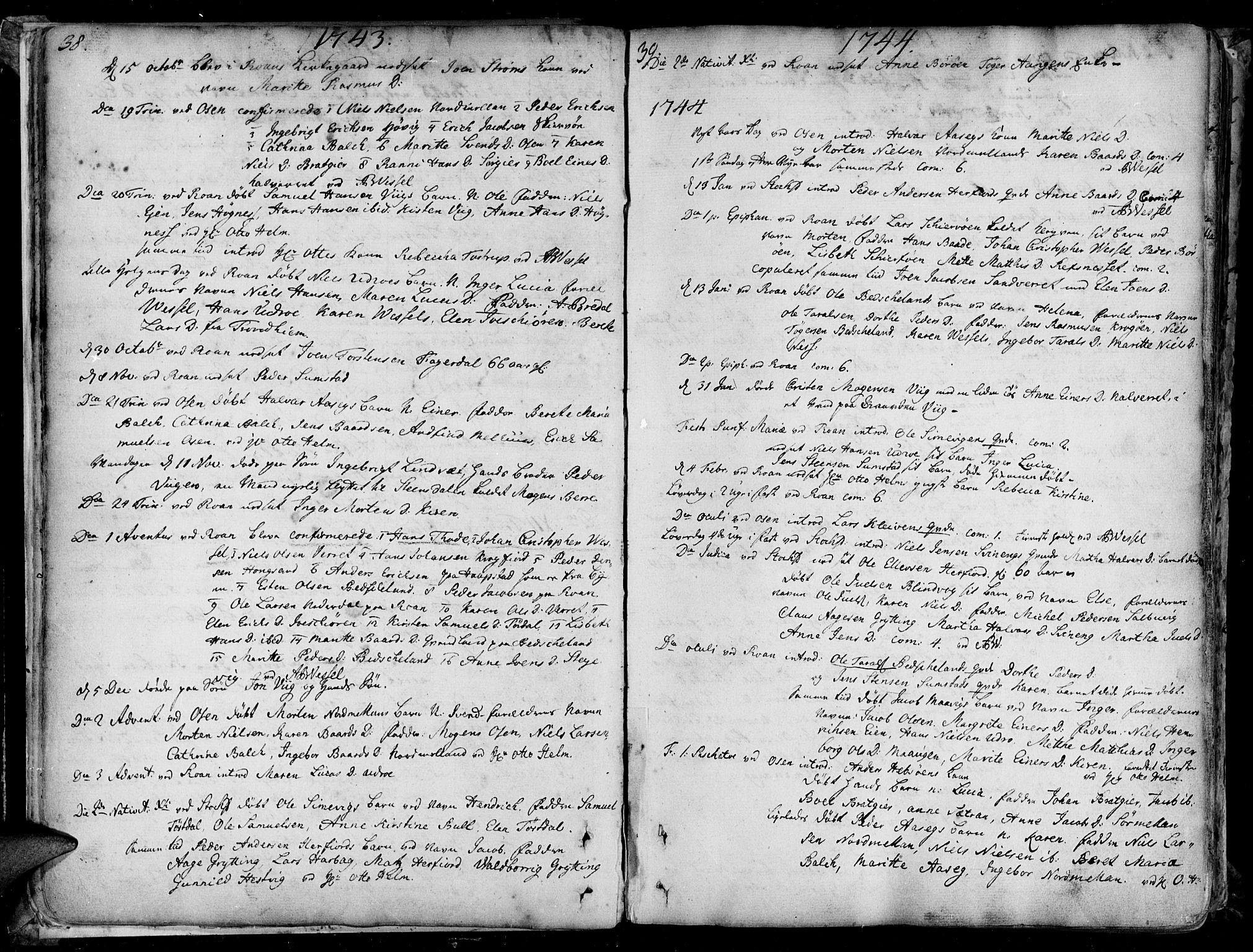 SAT, Ministerialprotokoller, klokkerbøker og fødselsregistre - Sør-Trøndelag, 657/L0700: Ministerialbok nr. 657A01, 1732-1801, s. 38-39