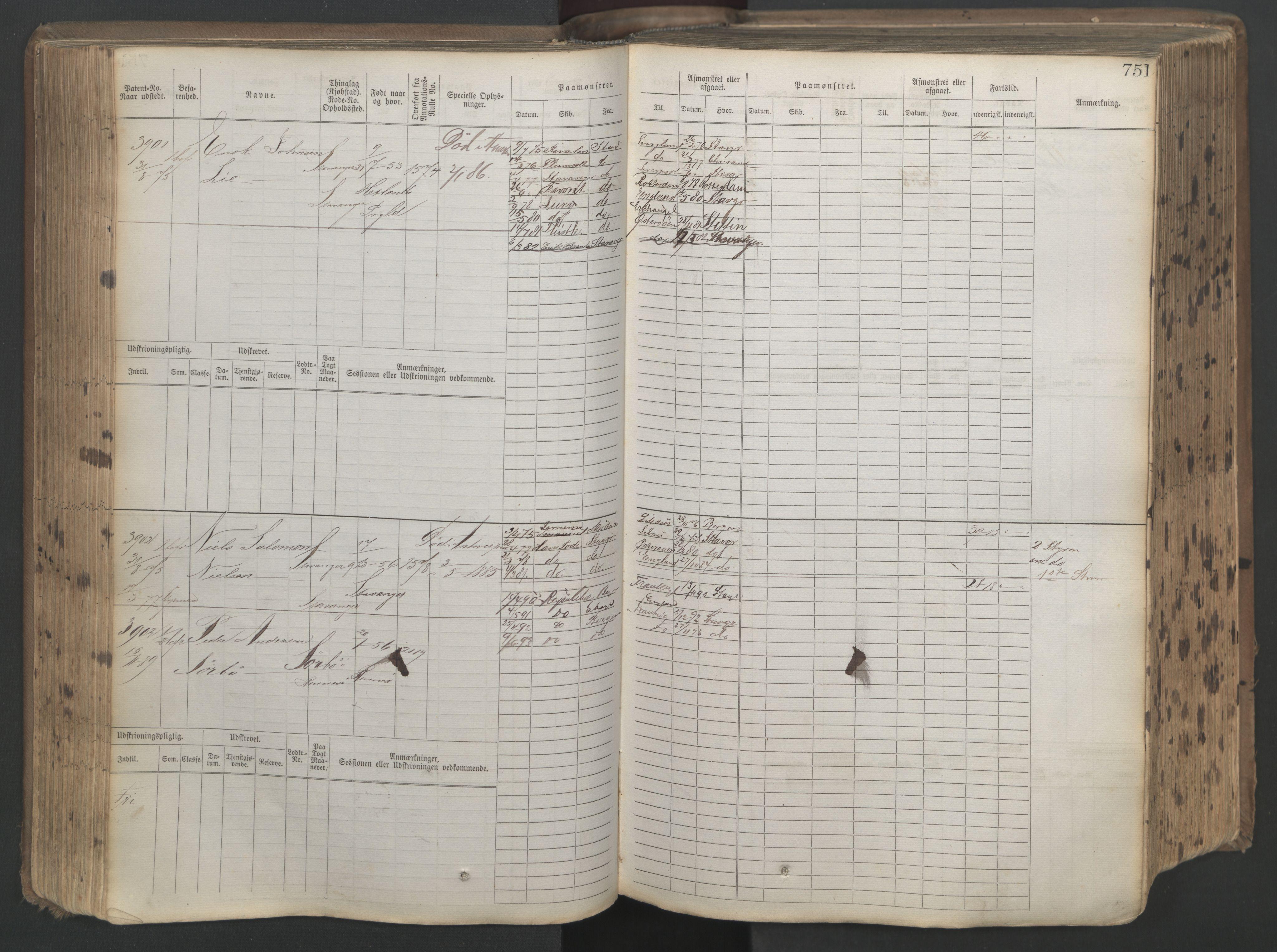 SAST, Stavanger sjømannskontor, F/Fb/Fbb/L0019: Sjøfartshovedrulle patnentnr. 3603-4803 (dublett), 1875, s. 154