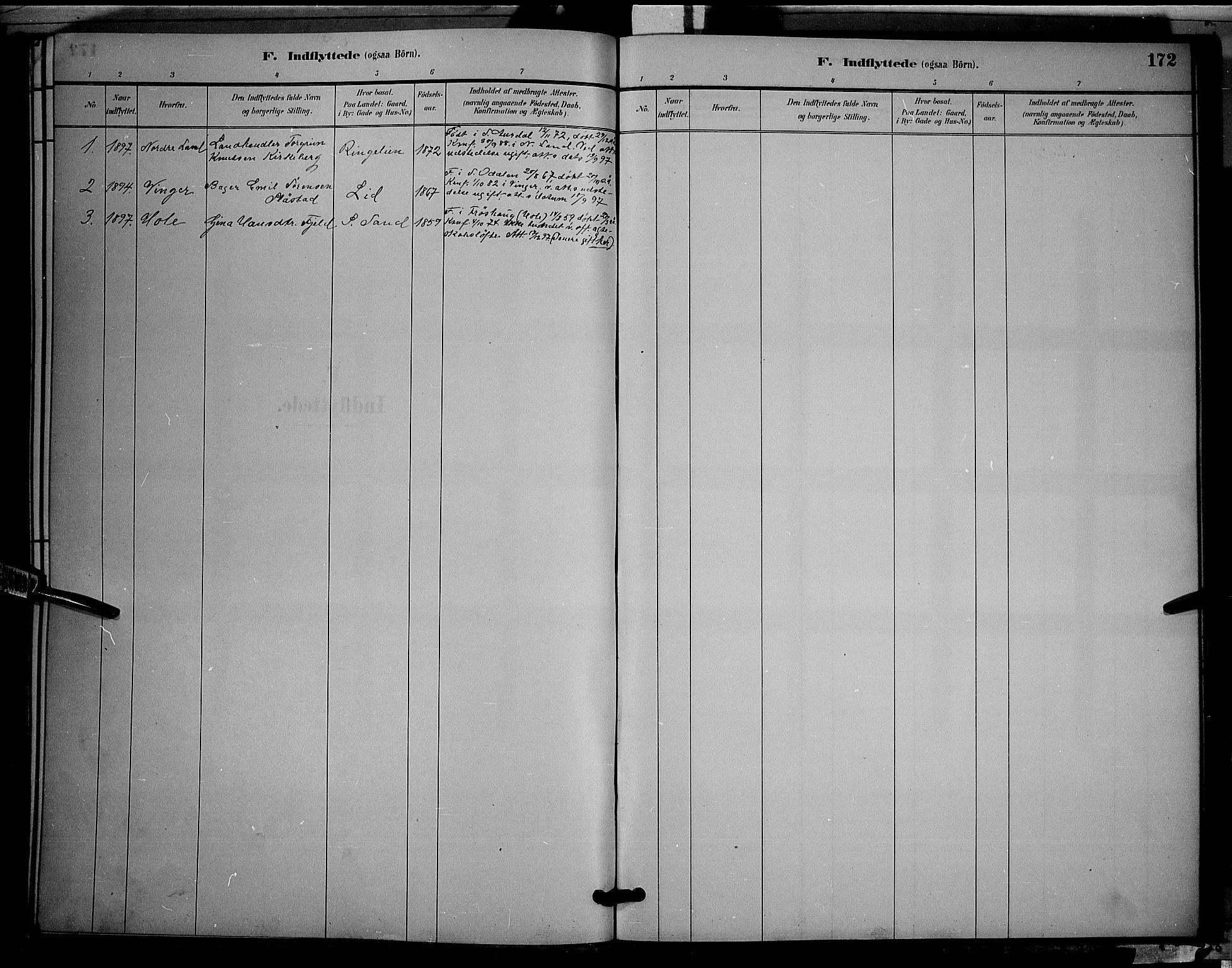 SAH, Søndre Land prestekontor, L/L0002: Klokkerbok nr. 2, 1884-1900, s. 172
