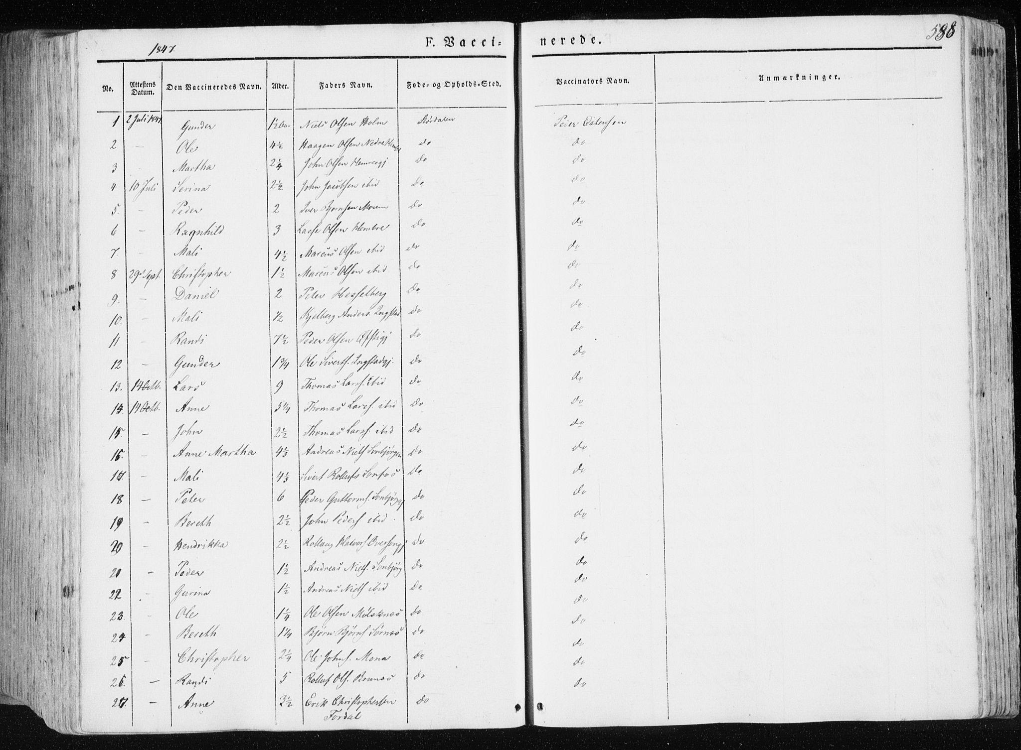 SAT, Ministerialprotokoller, klokkerbøker og fødselsregistre - Nord-Trøndelag, 709/L0074: Ministerialbok nr. 709A14, 1845-1858, s. 588