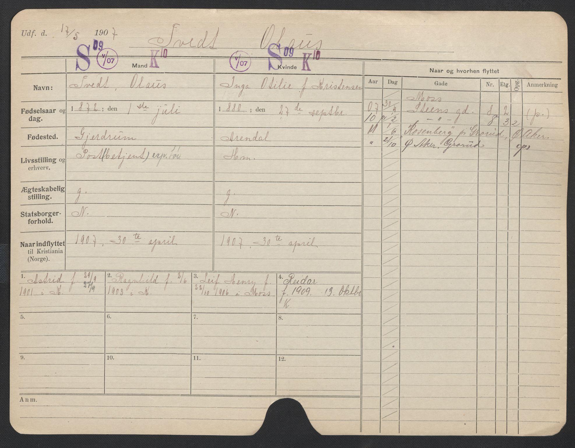 SAO, Oslo folkeregister, Registerkort, F/Fa/Fac/L0011: Menn, 1906-1914, s. 451a