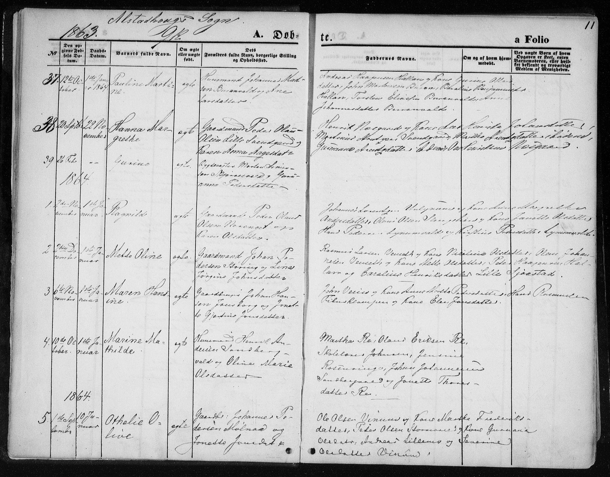 SAT, Ministerialprotokoller, klokkerbøker og fødselsregistre - Nord-Trøndelag, 717/L0157: Ministerialbok nr. 717A08 /1, 1863-1877, s. 11