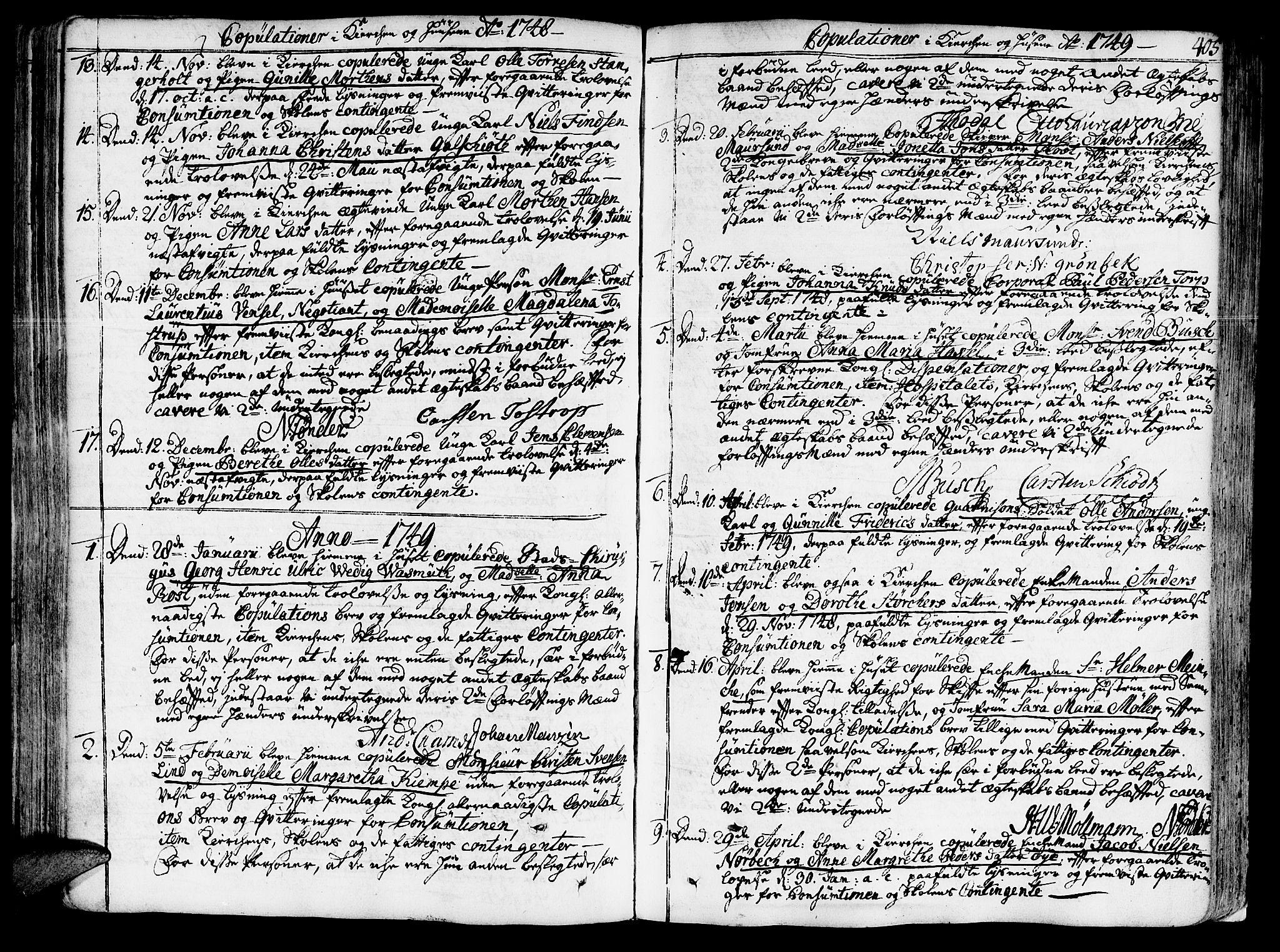 SAT, Ministerialprotokoller, klokkerbøker og fødselsregistre - Sør-Trøndelag, 602/L0103: Ministerialbok nr. 602A01, 1732-1774, s. 405