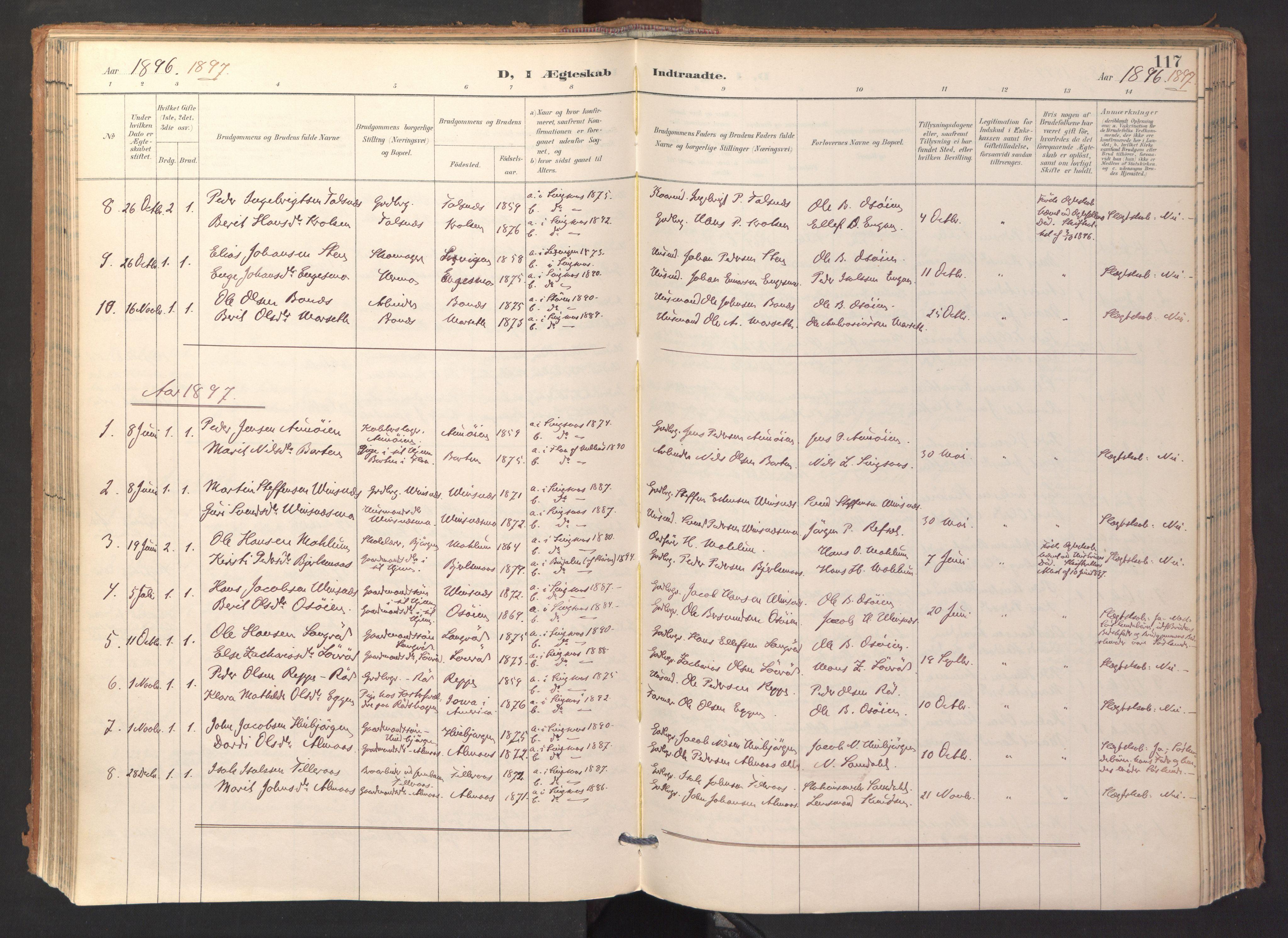 SAT, Ministerialprotokoller, klokkerbøker og fødselsregistre - Sør-Trøndelag, 688/L1025: Ministerialbok nr. 688A02, 1891-1909, s. 117