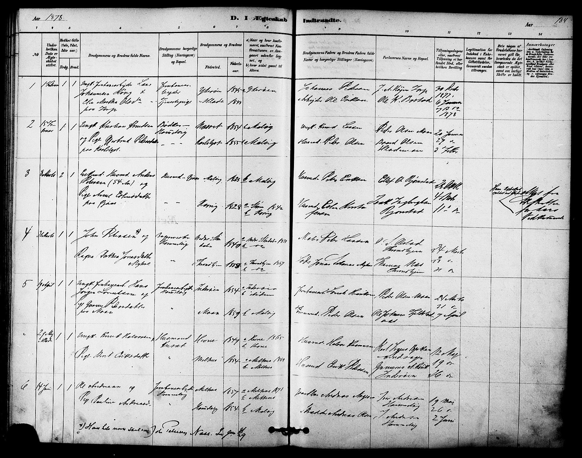 SAT, Ministerialprotokoller, klokkerbøker og fødselsregistre - Sør-Trøndelag, 616/L0410: Ministerialbok nr. 616A07, 1878-1893, s. 184