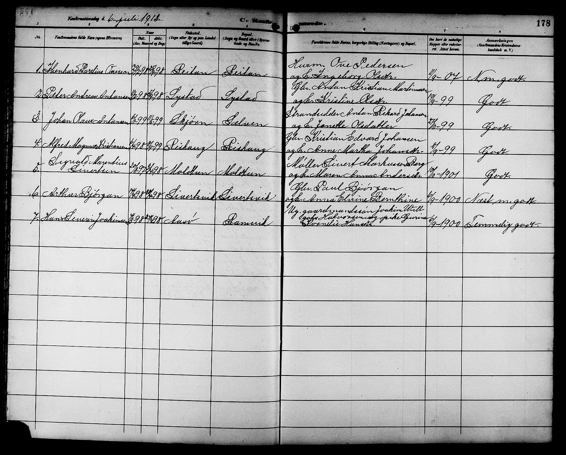 SAT, Ministerialprotokoller, klokkerbøker og fødselsregistre - Sør-Trøndelag, 662/L0757: Klokkerbok nr. 662C02, 1892-1918, s. 178
