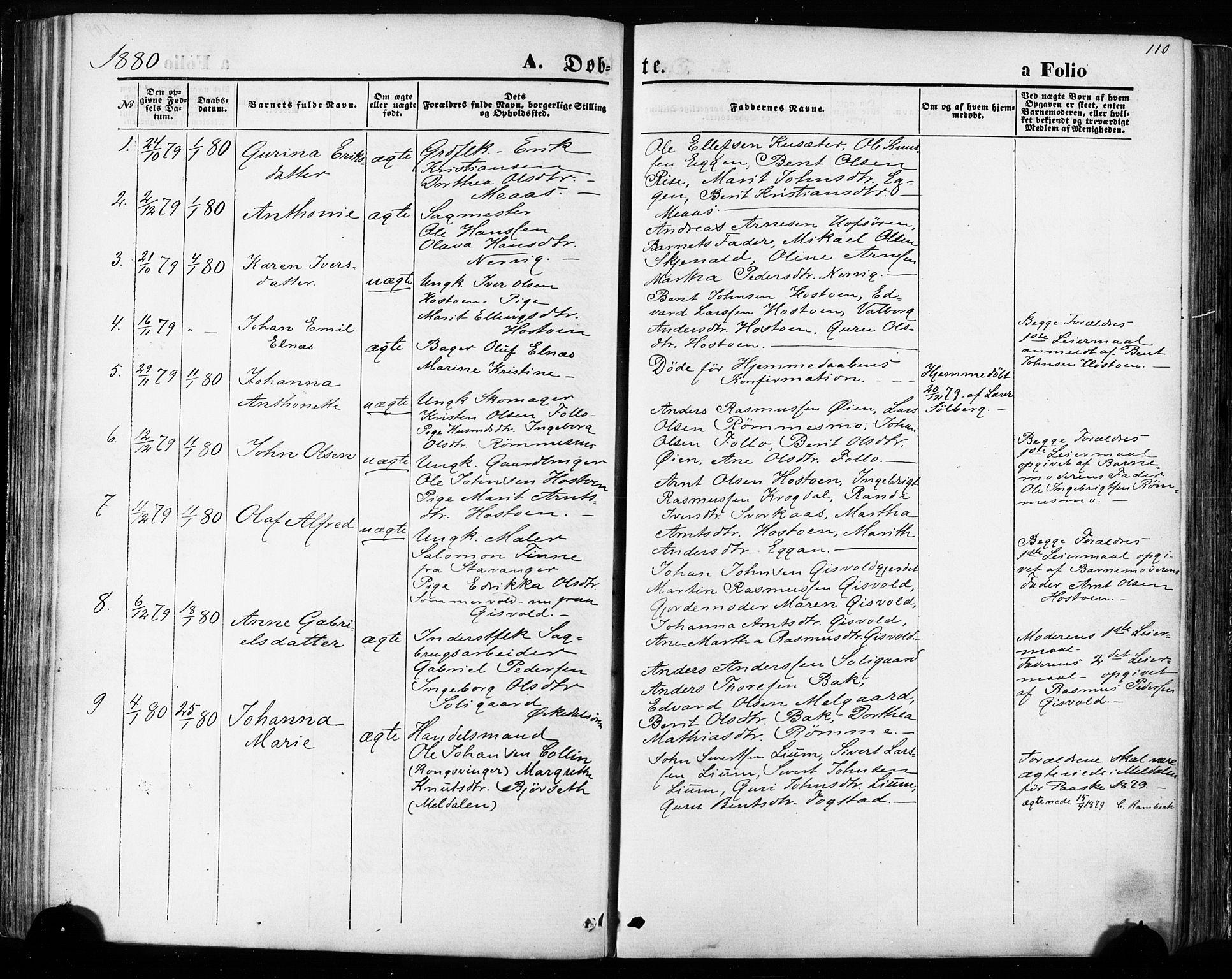 SAT, Ministerialprotokoller, klokkerbøker og fødselsregistre - Sør-Trøndelag, 668/L0807: Ministerialbok nr. 668A07, 1870-1880, s. 110