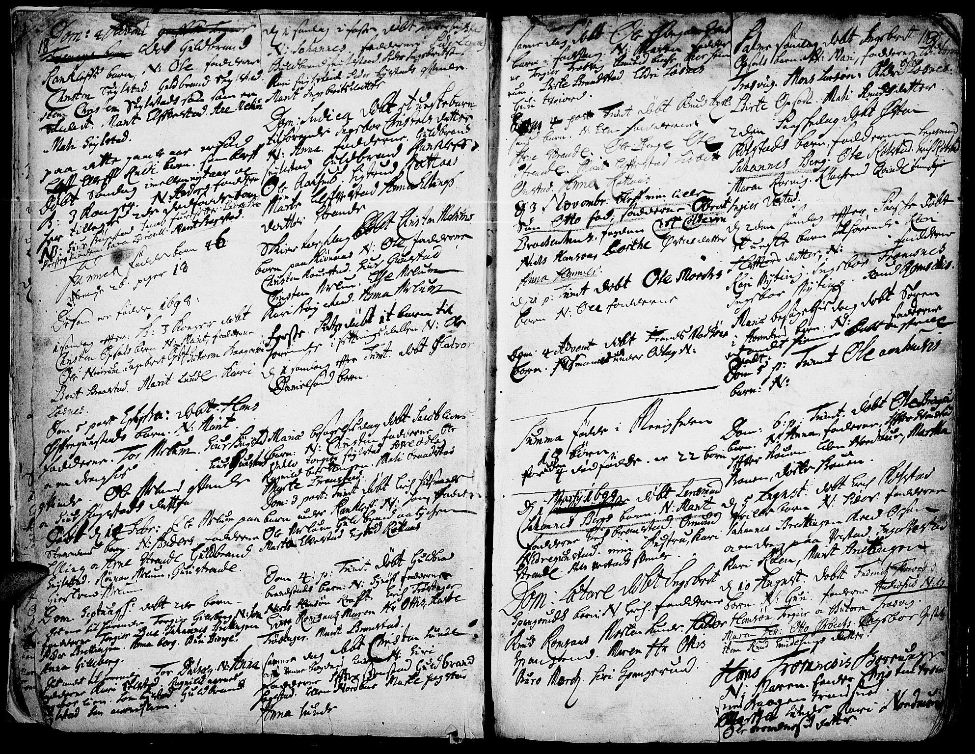 SAH, Ringebu prestekontor, Ministerialbok nr. 1, 1696-1733, s. 18-19