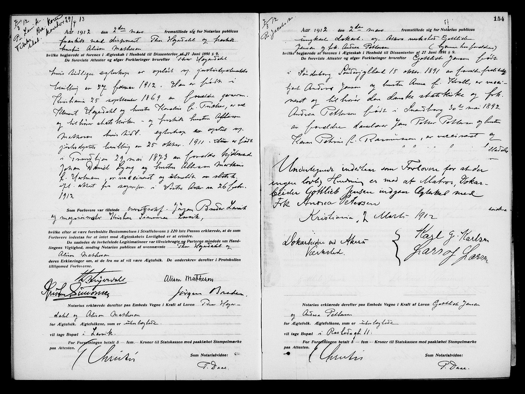 SAO, Oslo byfogd avd. I, L/Lb/Lbb/L0008: Notarialprotokoll, rekke II: Vigsler, 1911-1913, s. 153b-154a