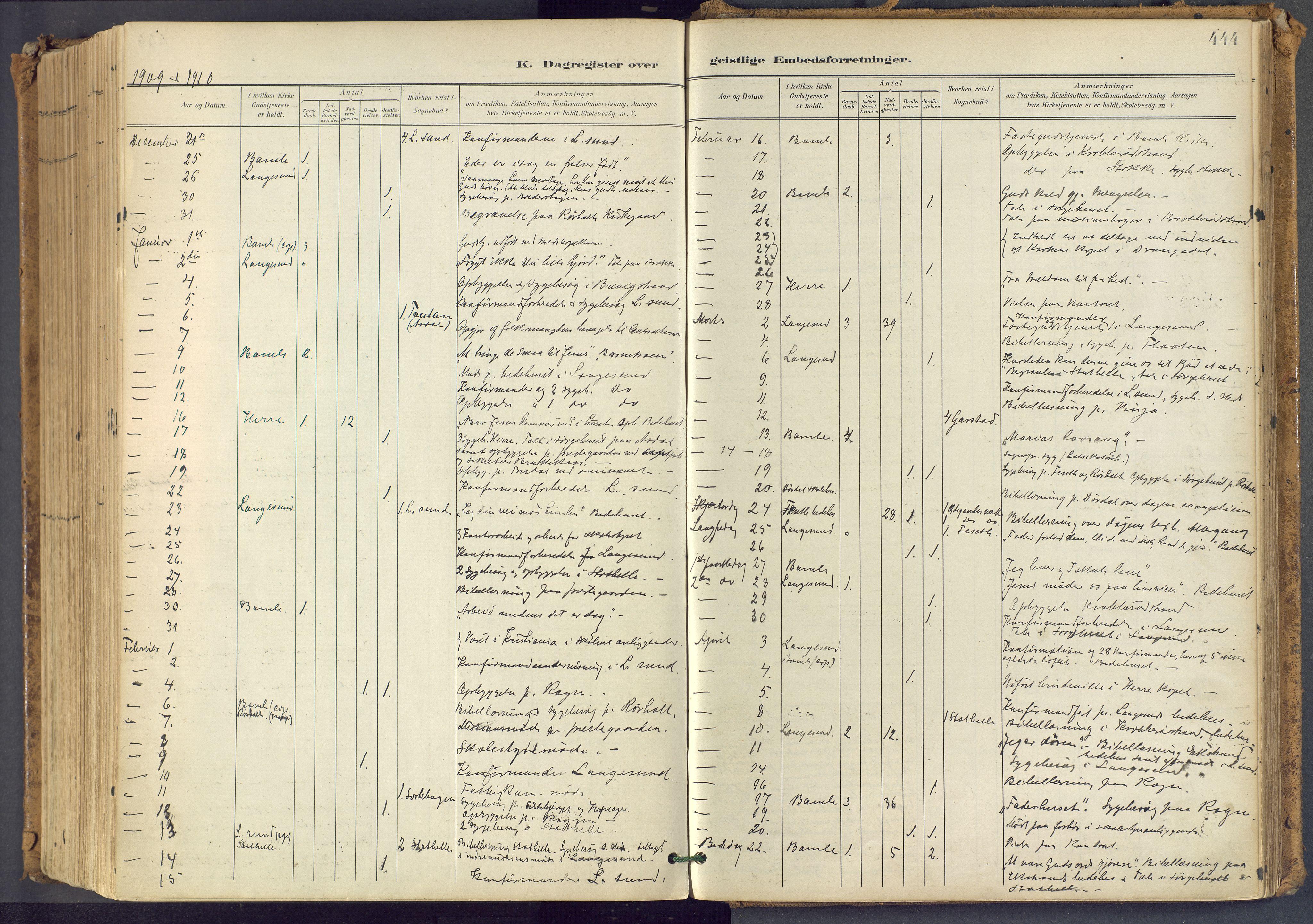 SAKO, Bamble kirkebøker, F/Fa/L0009: Ministerialbok nr. I 9, 1901-1917, s. 444